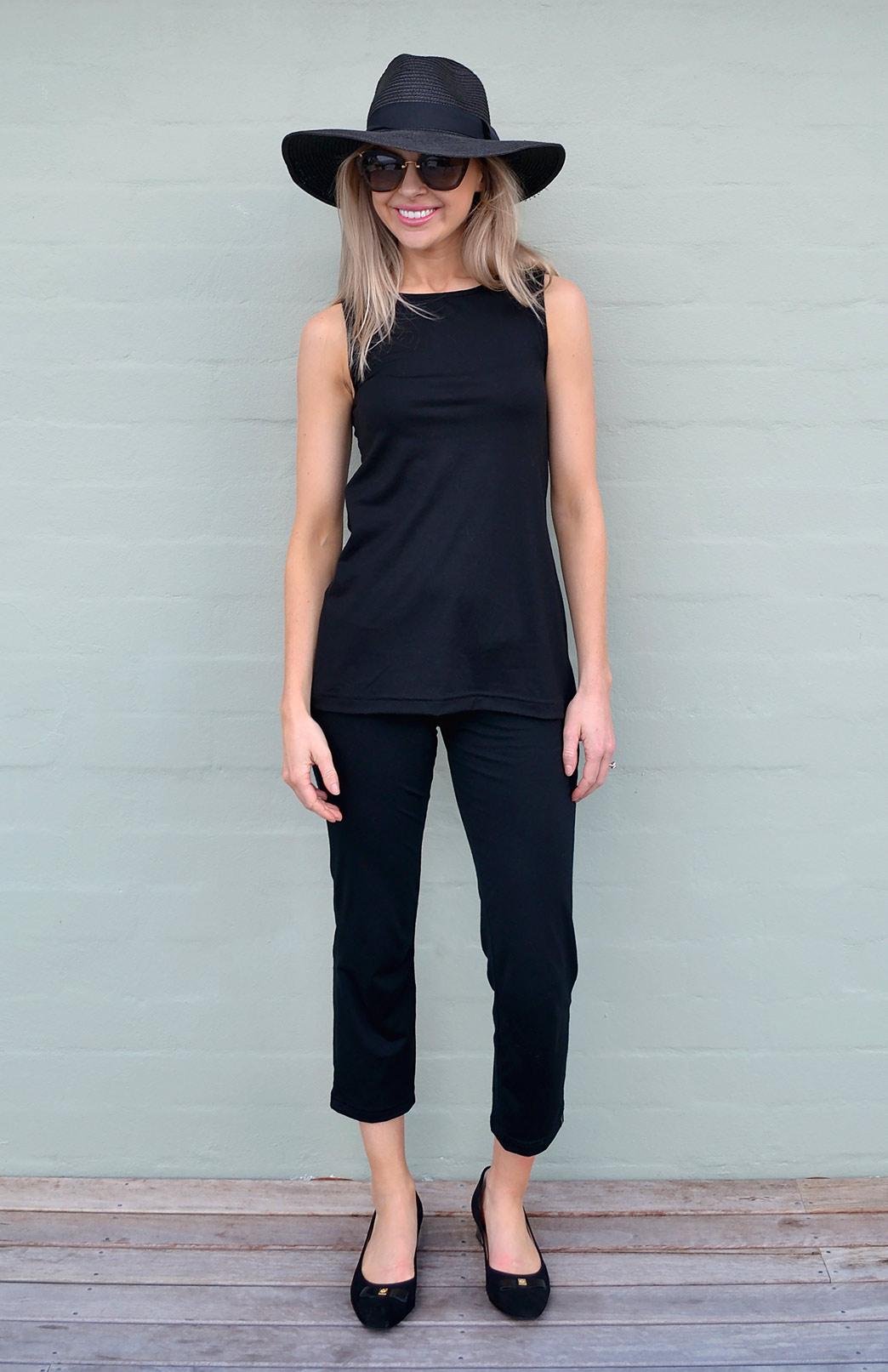 Capri Pants - Women's Black Merino Wool Lightweight 7/8th Crop Pants - Smitten Merino Tasmania Australia