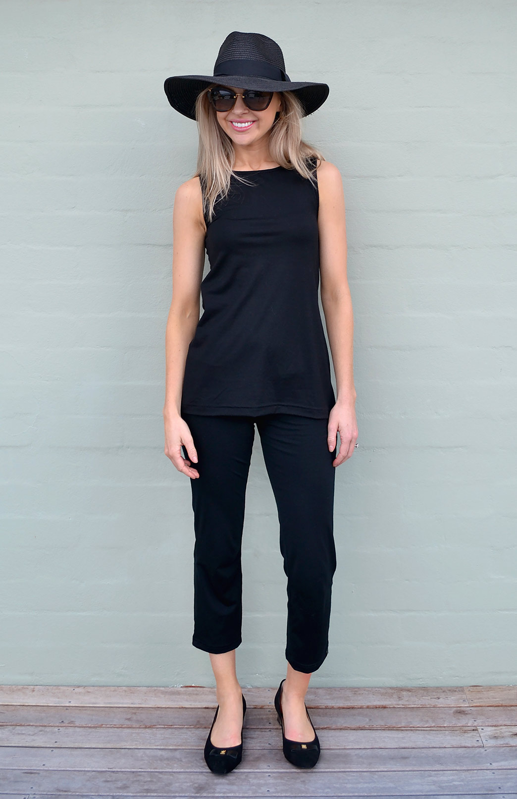 Capri Pants - Women's Black Merino Wool Lightweight 7/8th Crop Pants - Smitten Merino Tasmania Australia