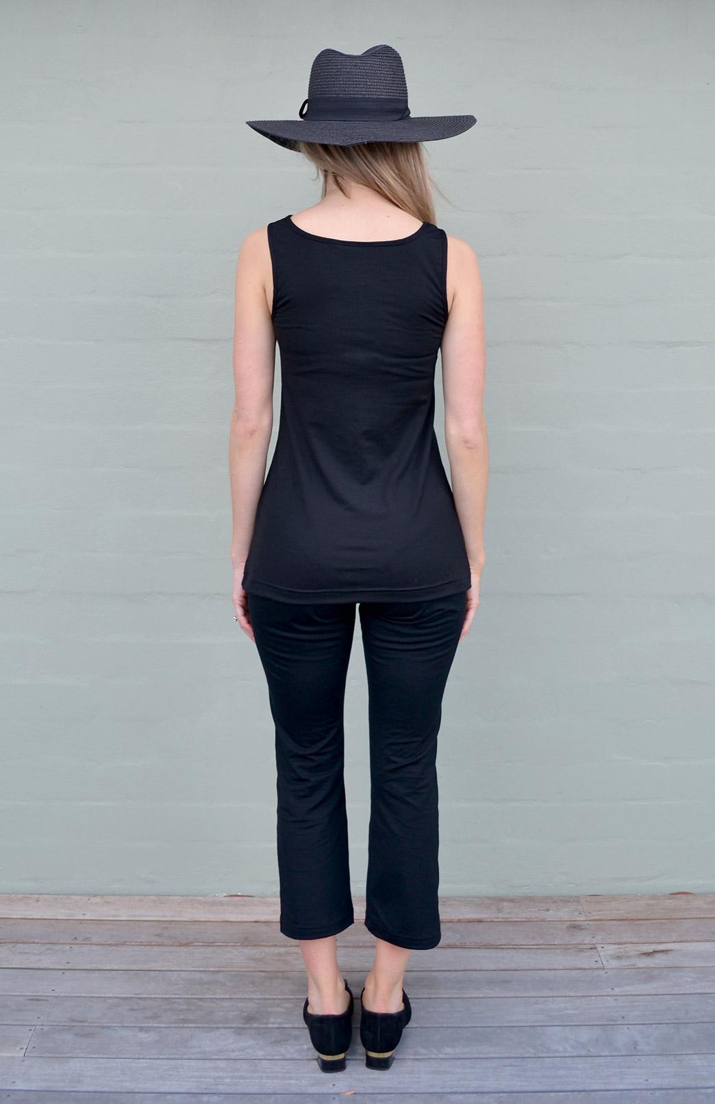 Capri Top Women S Black Merino Wool Sleeveless Summer