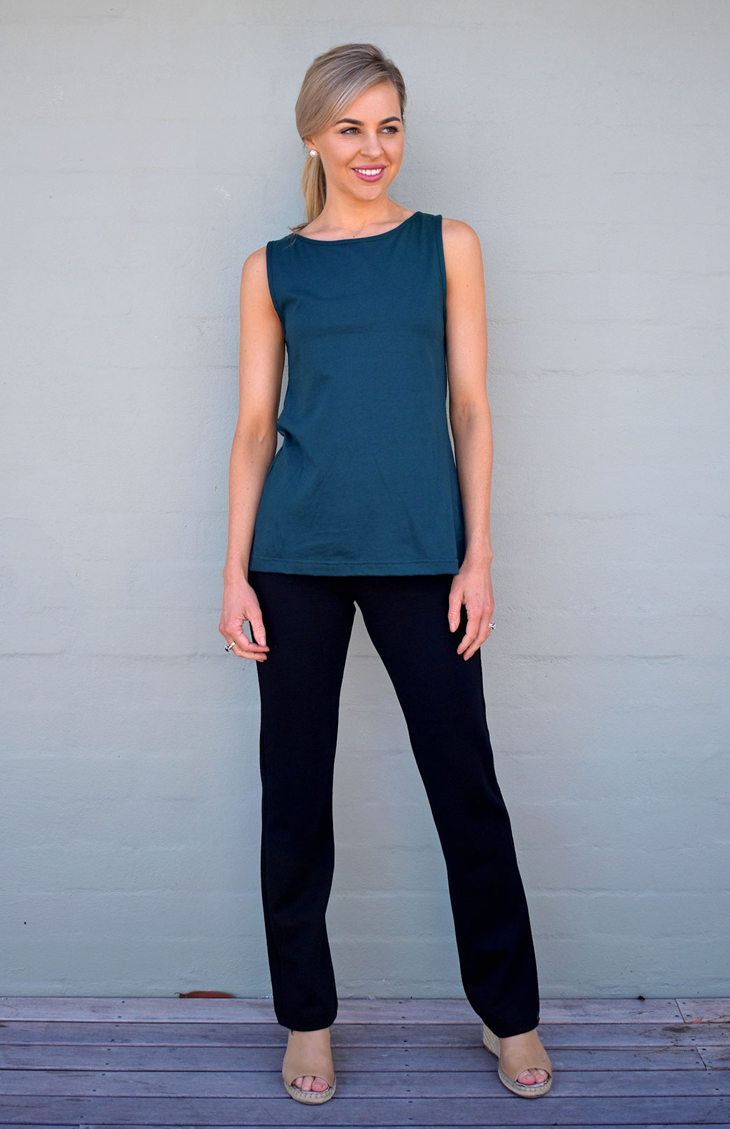 Capri Top (Organic Cotton) - Women's Deep Sea Green Organic Cotton Sleeveless Capri Top with High Neckline and A-Line Shaping - Smitten Merino Tasmania Australia