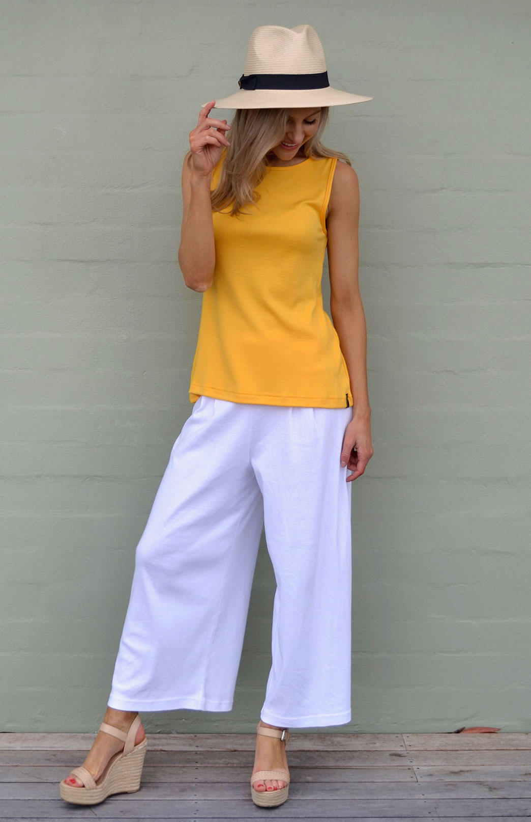 Wide Leg Crop Pant - COTTON - Women's Merino Cotton Crop Pants with Wide Legs and Waistband - Smitten Merino Tasmania Australia