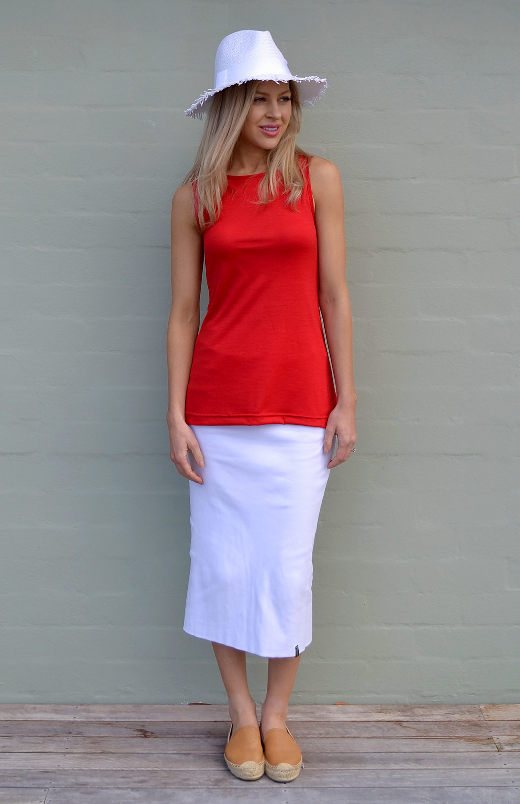 Long Tube Skirt - Organic Cotton - Women's White Organic Cotton Summer Long Tube Skirt - Smitten Merino Tasmania Australia