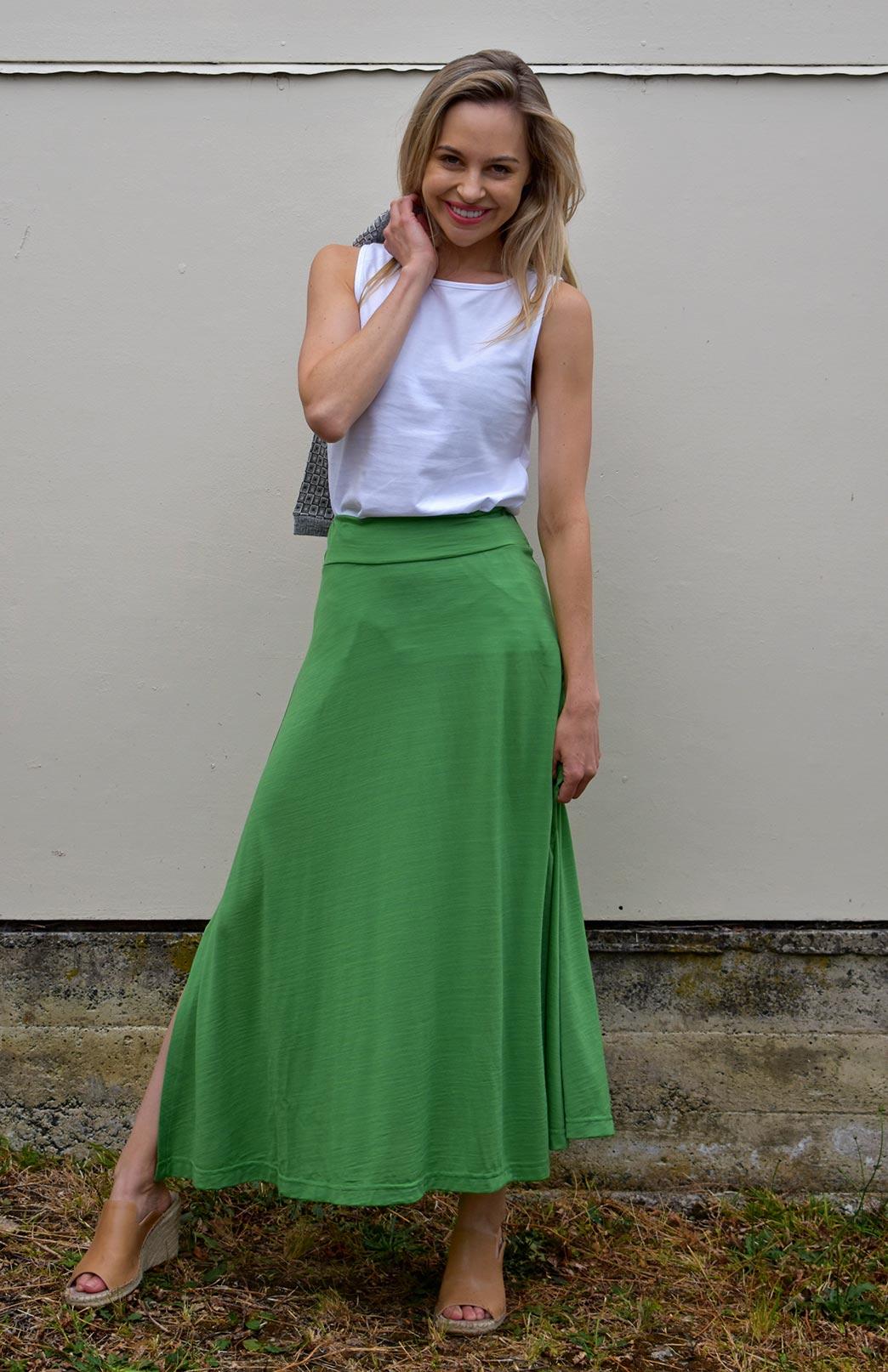 Marion Maxi Skirt - Women's Kiwi Green Merino Wool Maxi Skirt - Smitten Merino Tasmania Australia