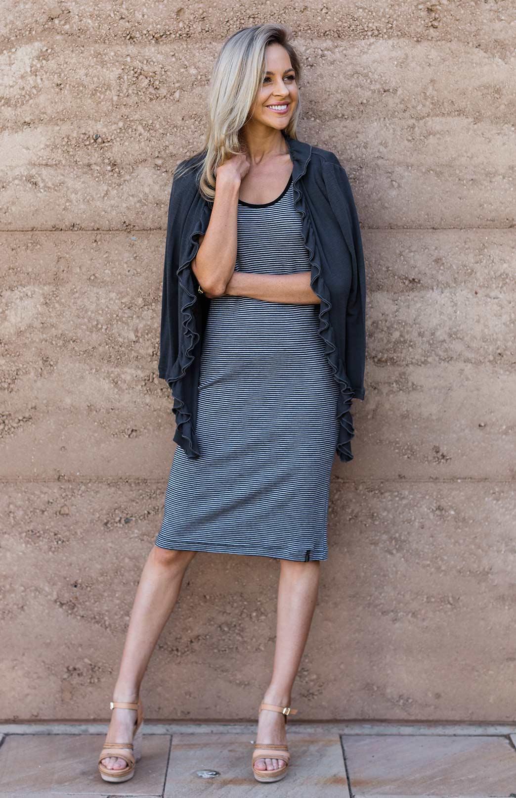 Lexi Dress - Women's Fine Striped Short Sleeve Scoop Neck Knee Length Summer Dress - Smitten Merino Tasmania Australia