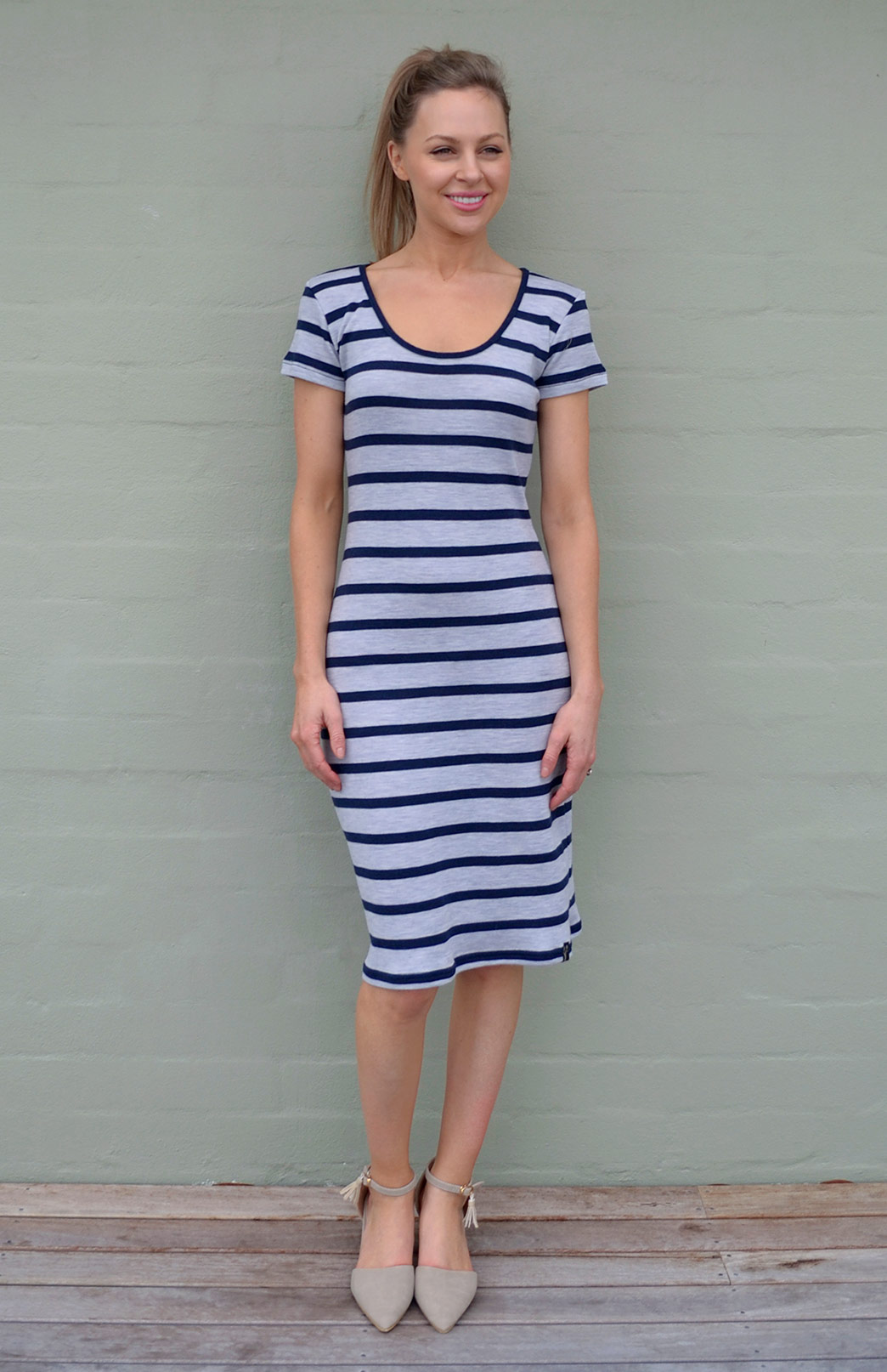 Scoop Neck Dress - Short Sleeve - Women's Striped Short Sleeve Scoop Neck Summer Dress - Smitten Merino Tasmania Australia