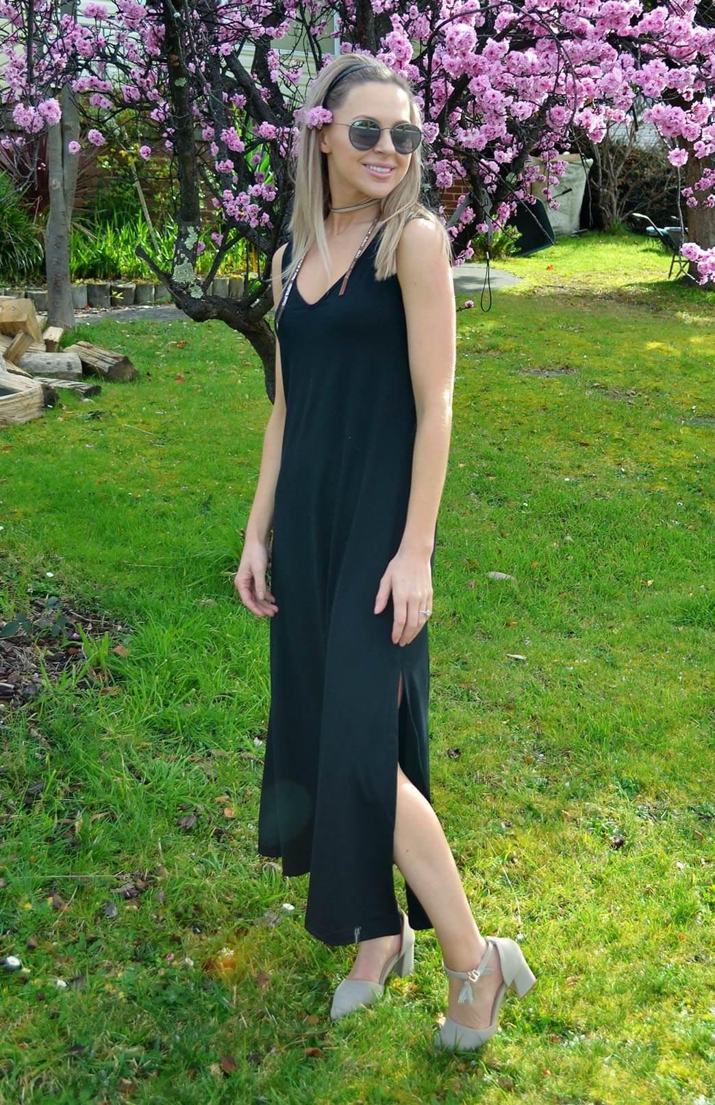 V-Neck Maxi Dress - Women's Black Merino Wool V-Neck Sleeveless Maxi Dress - Smitten Merino Tasmania Australia