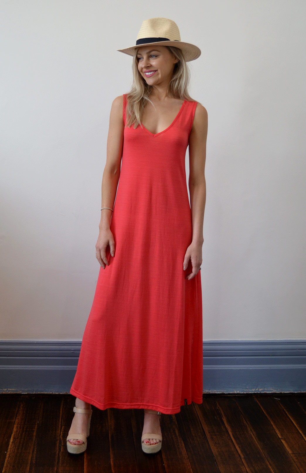V-Neck Maxi Dress - Women's Hot Coral Merino Wool & Modal Blend V-Neck Sleeveless Maxi Dress with side split - Smitten Merino Tasmania Australia