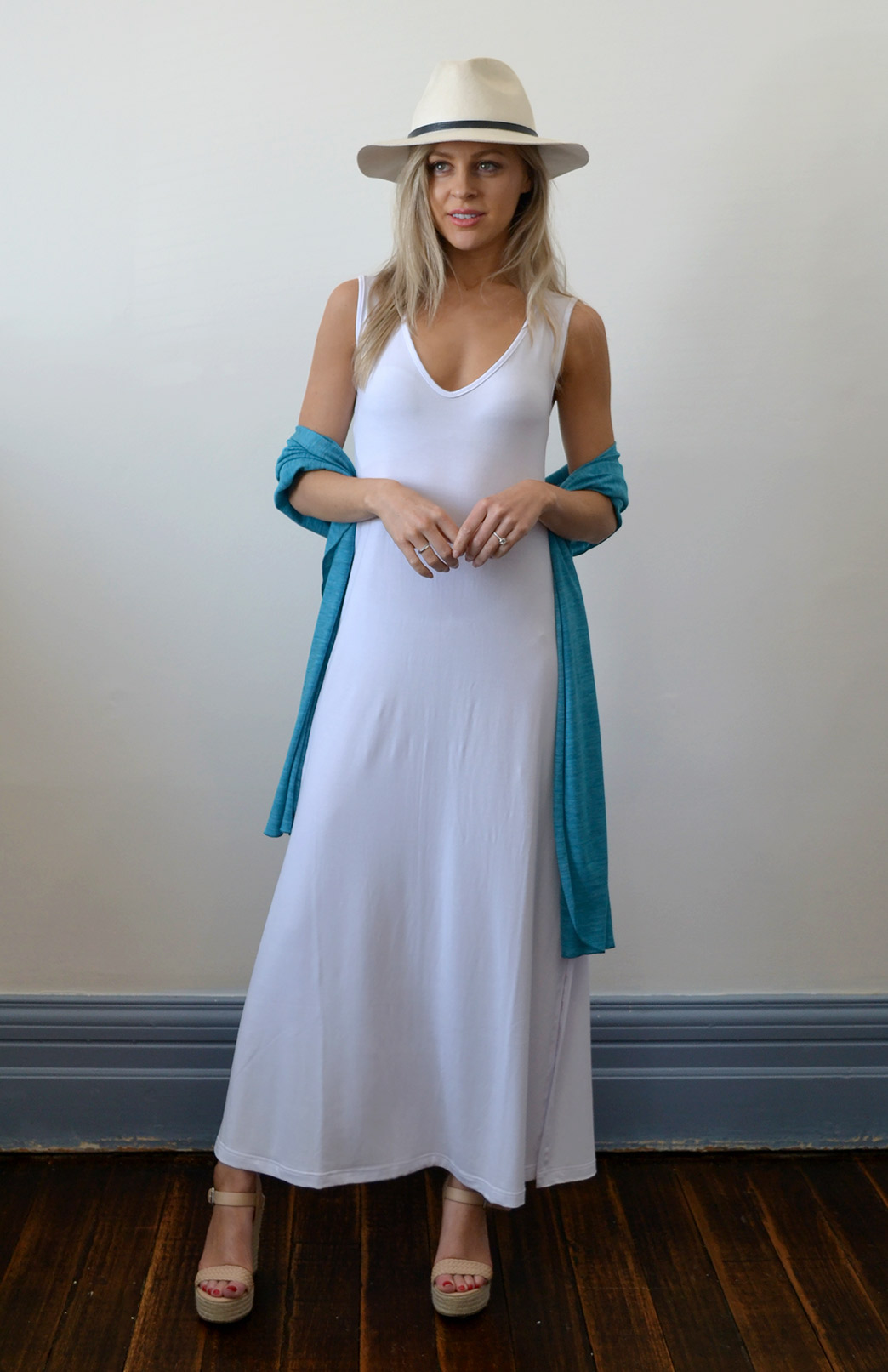 V-Neck Maxi Dress - Modal - Women's White Modal V-Neck Sleeveless Maxi Dress with Side Split - Smitten Merino Tasmania Australia