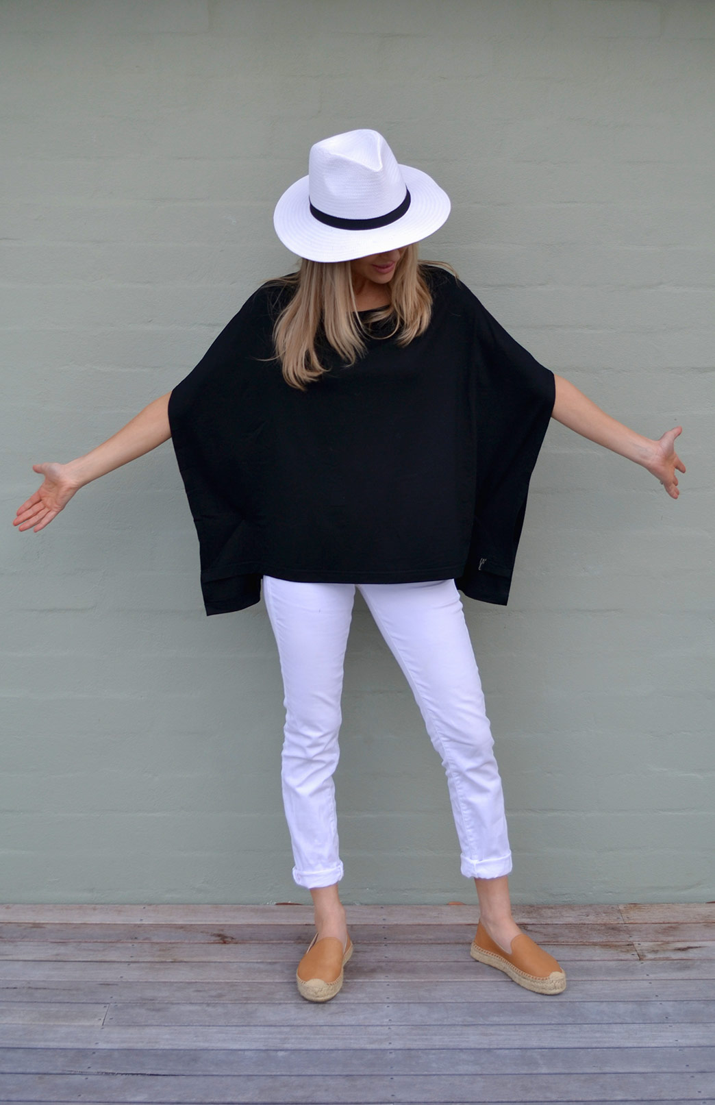 Spacey Top - Women's Black Merino Wool Poncho Style Loose Fit Fashion Top - Smitten Merino Tasmania Australia