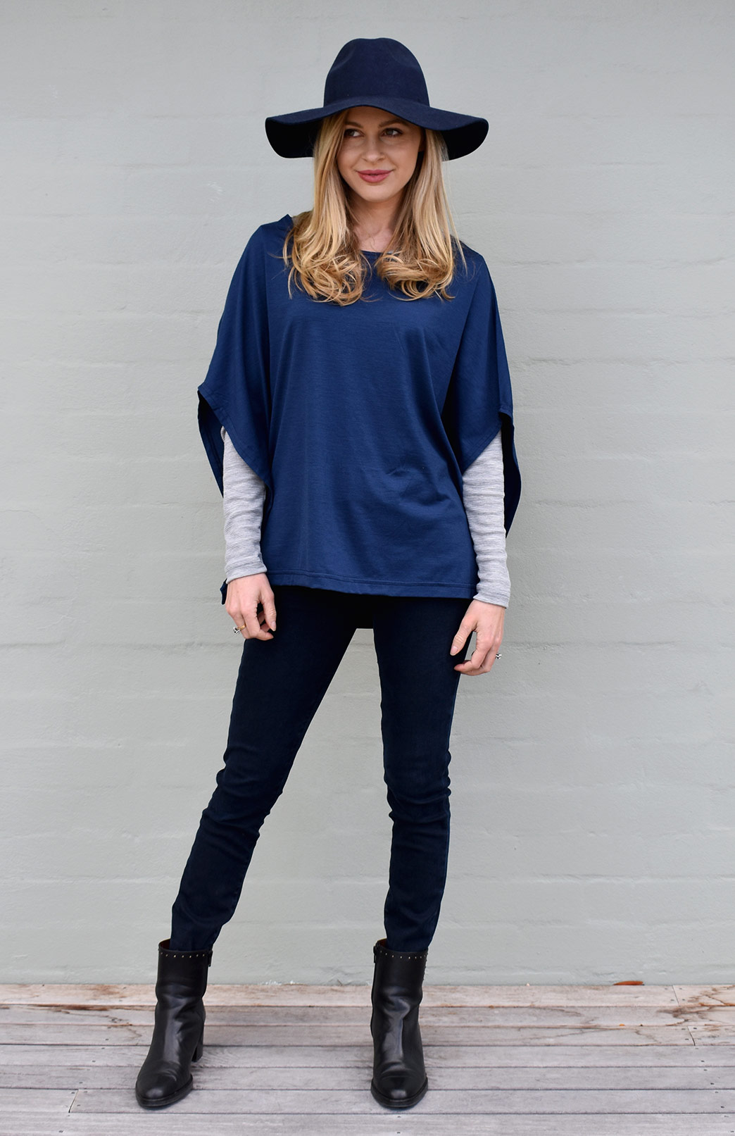 02d2ab8e8a832d Spacey Top - Women's Indigo Blue Merino Wool Poncho Style Loose Fit Fashion  Top - Smitten