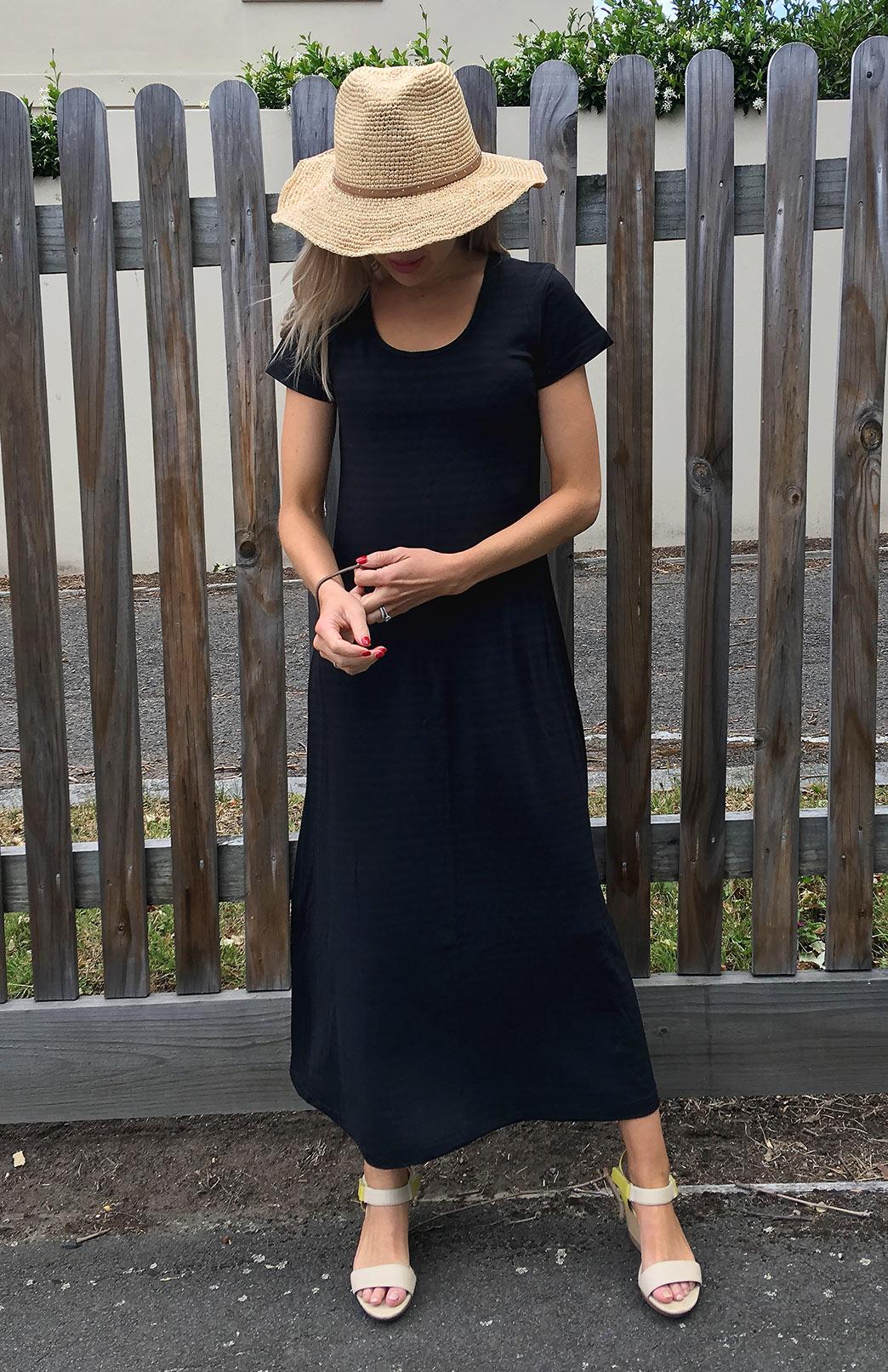 T-Shirt Maxi Dress - Women's Dark Grey Stripe Merino Wool Modal Blend T-Shirt Maxi Dress - Smitten Merino Tasmania Australia