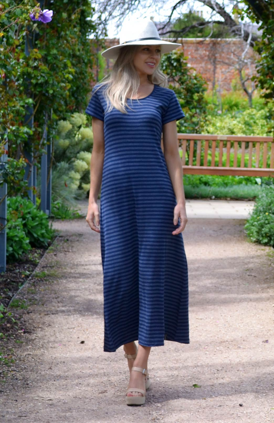 T-Shirt Maxi Dress - Women's Indigo Blue Stripe Merino Wool Modal Blend T-Shirt Maxi Dress - Smitten Merino Tasmania Australia