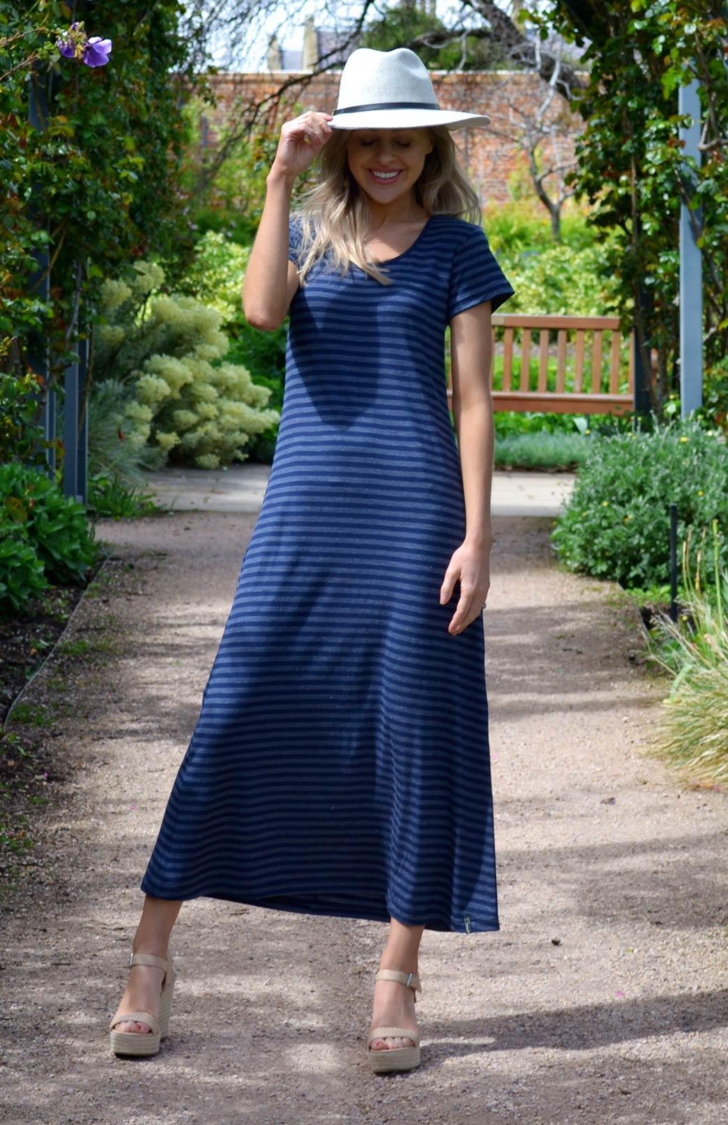 T Shirt Maxi Dress Women S Indigo Blue Stripe Merino