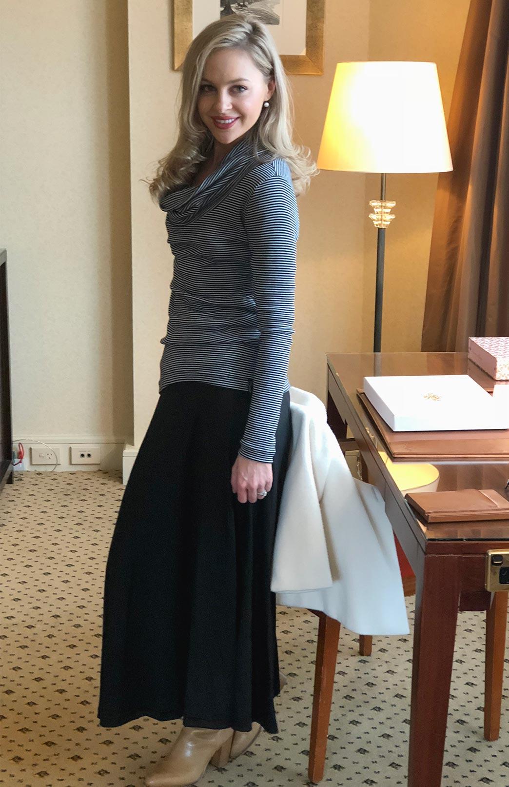 Marion Maxi Skirt - Women's Black Merino Wool Maxi Skirt - Smitten Merino Tasmania Australia