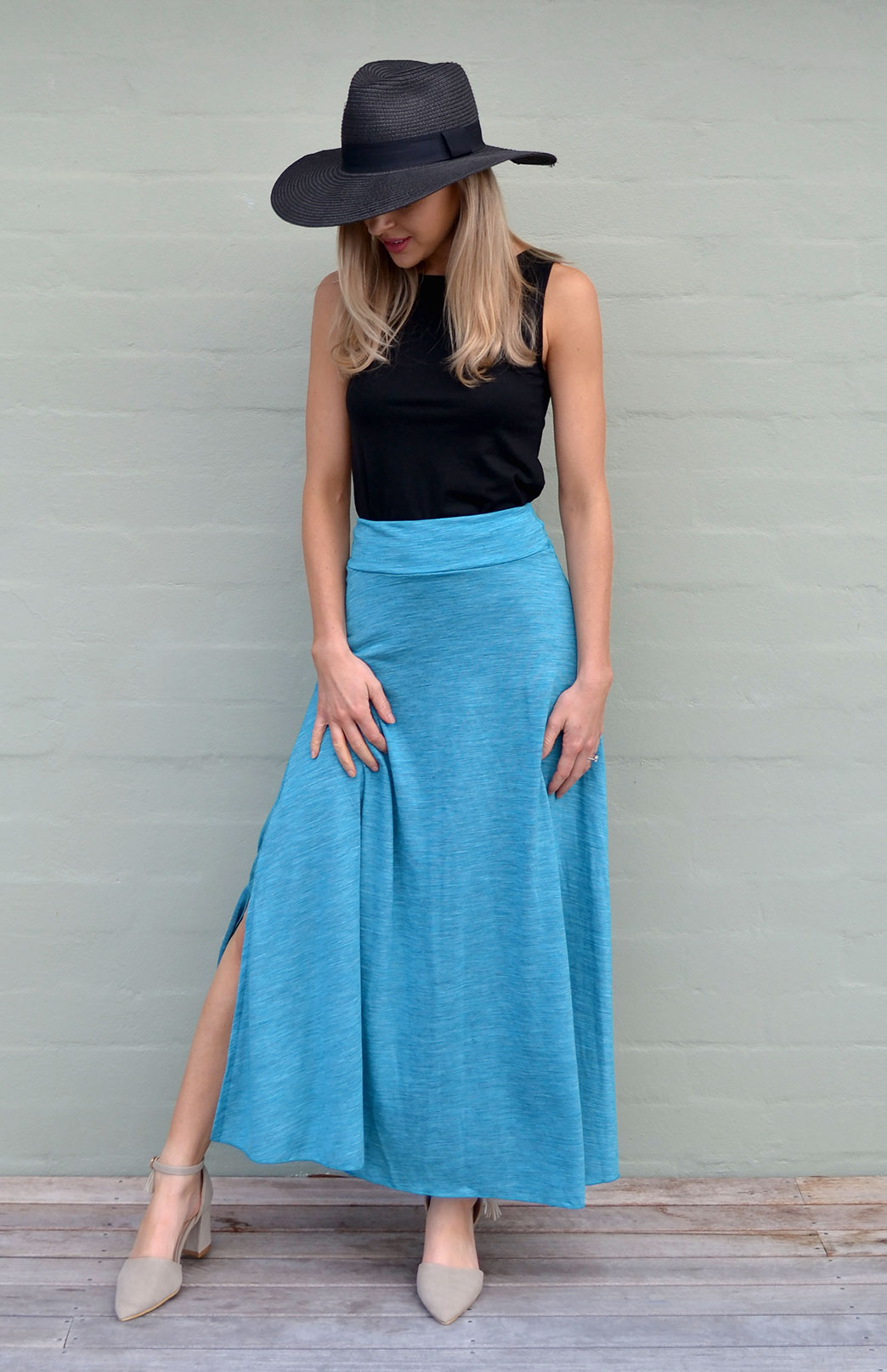 Marion Maxi Skirt - Women's Turquoise Pinstripe Merino Wool Blend Maxi Skirt - Smitten Merino Tasmania Australia