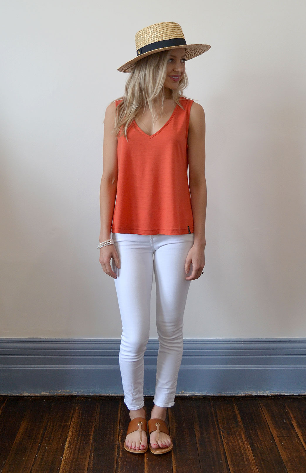 Vera Tank Top - Women's Paprika Orange Sleeveless V-Neck Wool & Modal Tank Top - Smitten Merino Tasmania Australia