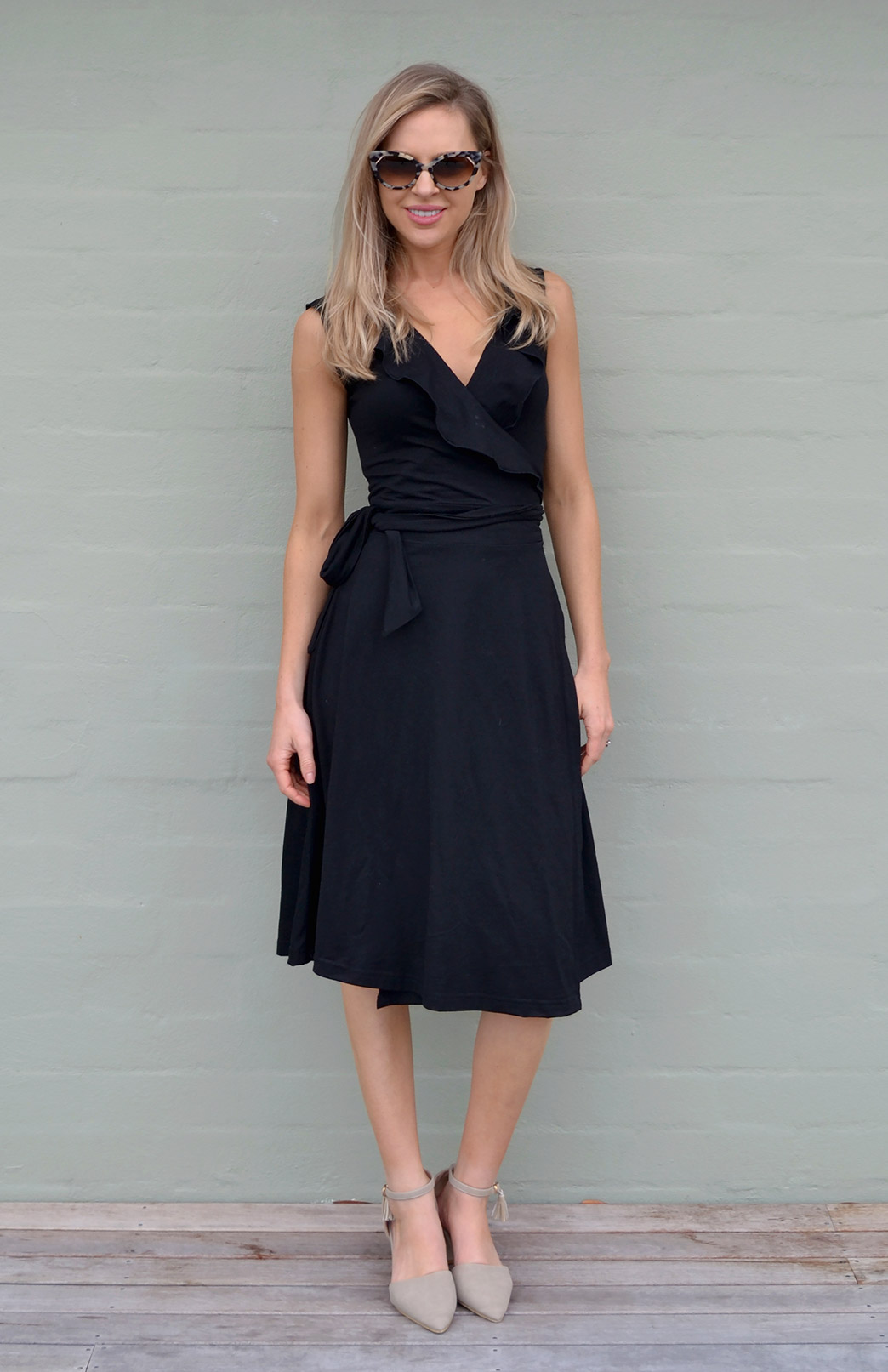 Ophelia Wrap Dress - Women's Summer Sleeveless Black Merino Wool Wrap Dress with Ruffled Collar - Smitten Merino Tasmania Australia