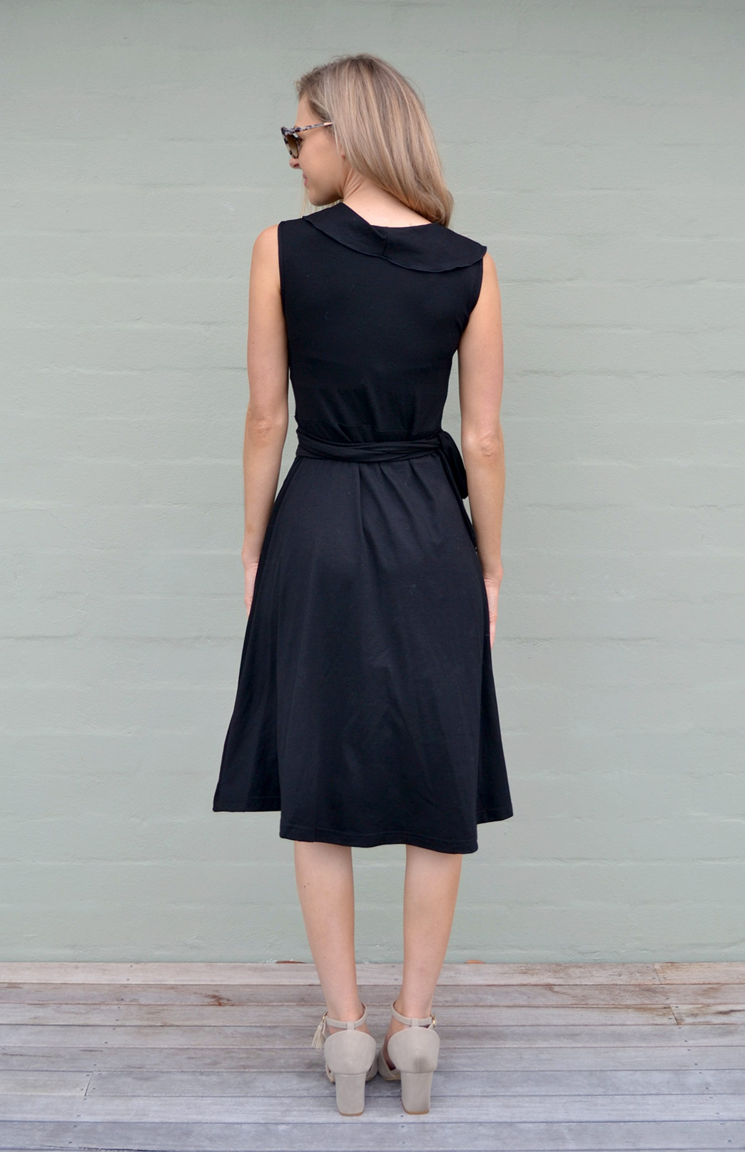 05685273f544 Ophelia Wrap Dress. Women's Summer Sleeveless Black Merino Wool Wrap Dress  with Ruffled Collar