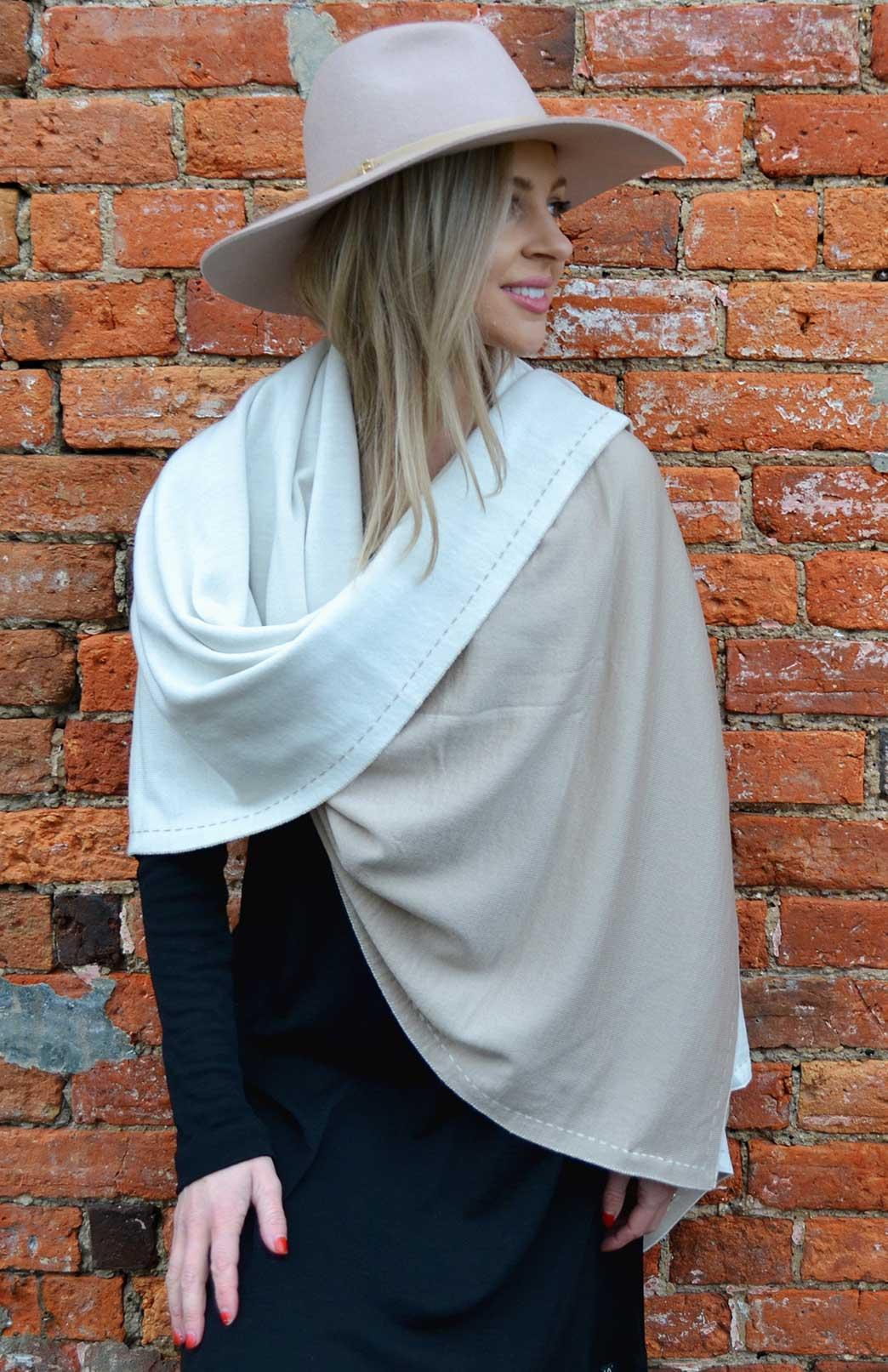 Reversible Wrap - Women's Natural Cream and Oatmeal Superfine Merino Wool Reversible Wrap and Knee Blanket - Smitten Merino Tasmania Australia