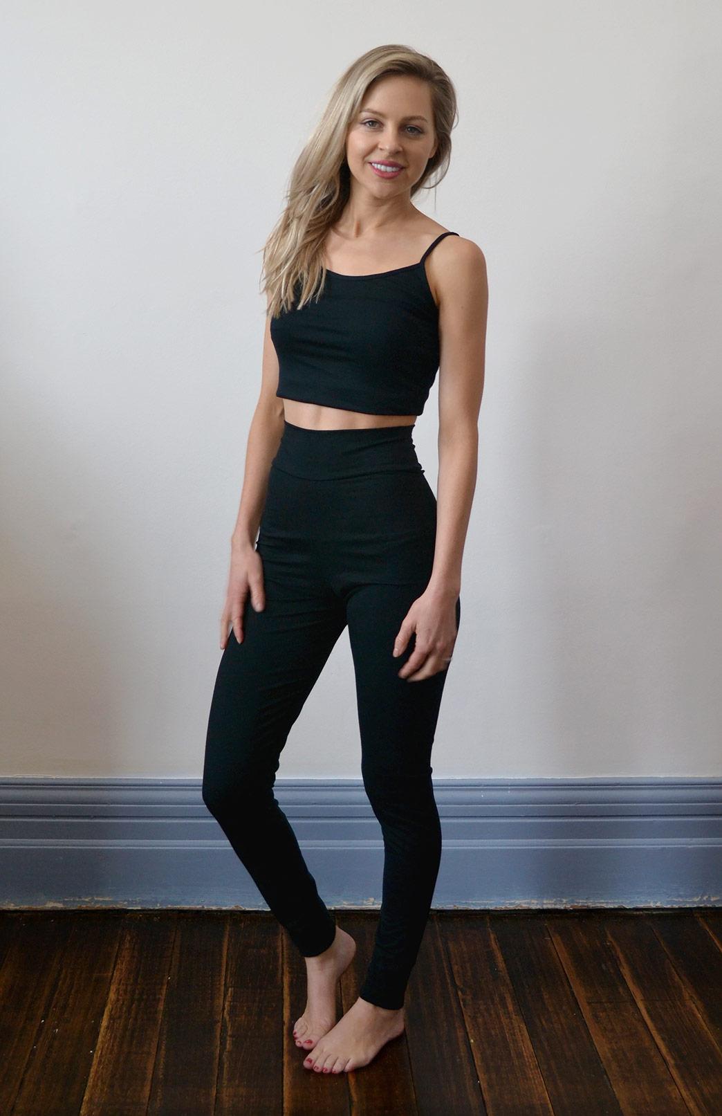High Waisted Leggings - Women's Black Wool High Waisted Leggings with no pockets or fastenings 200gsm - Smitten Merino Tasmania Australia