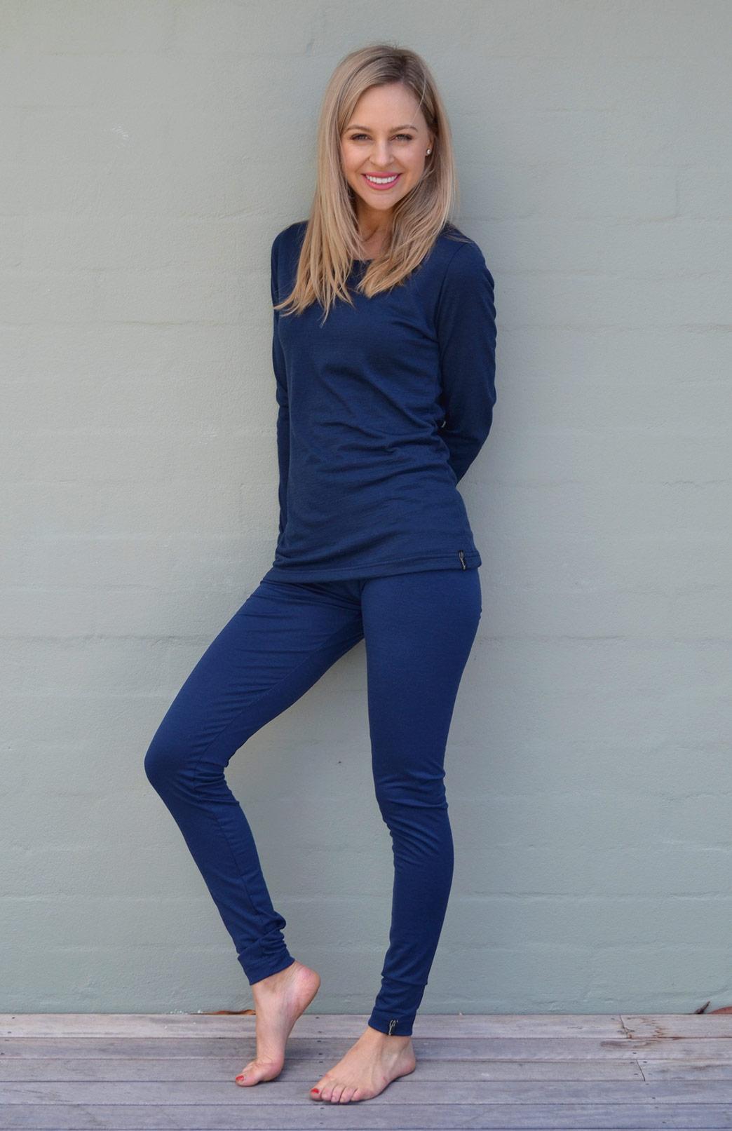 High Waisted Leggings - Lightweight - Women's Indigo Blue Wool High Waisted Leggings with no pockets or fastenings - Smitten Merino Tasmania Australia