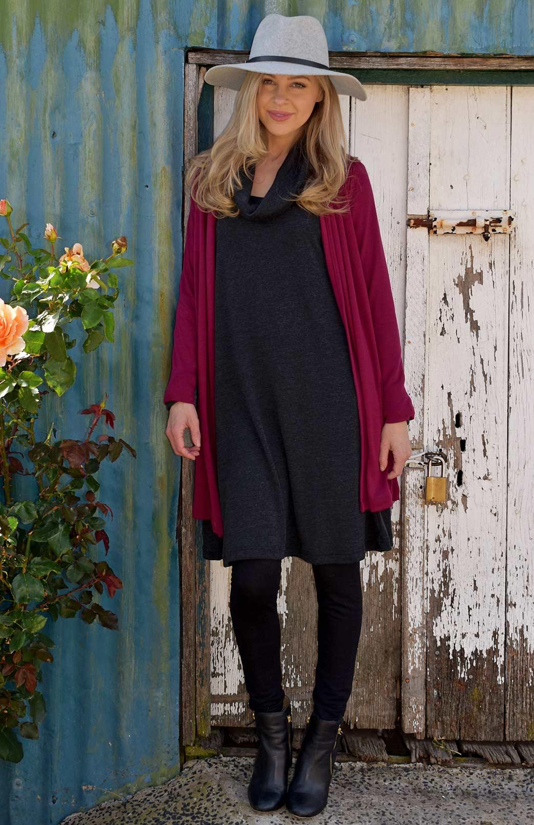Cowl Neck Swing Dress - Women's Superfine Merino Wool Long Sleeve Cowl Neck Swing Dress - Smitten Merino Tasmania Australia