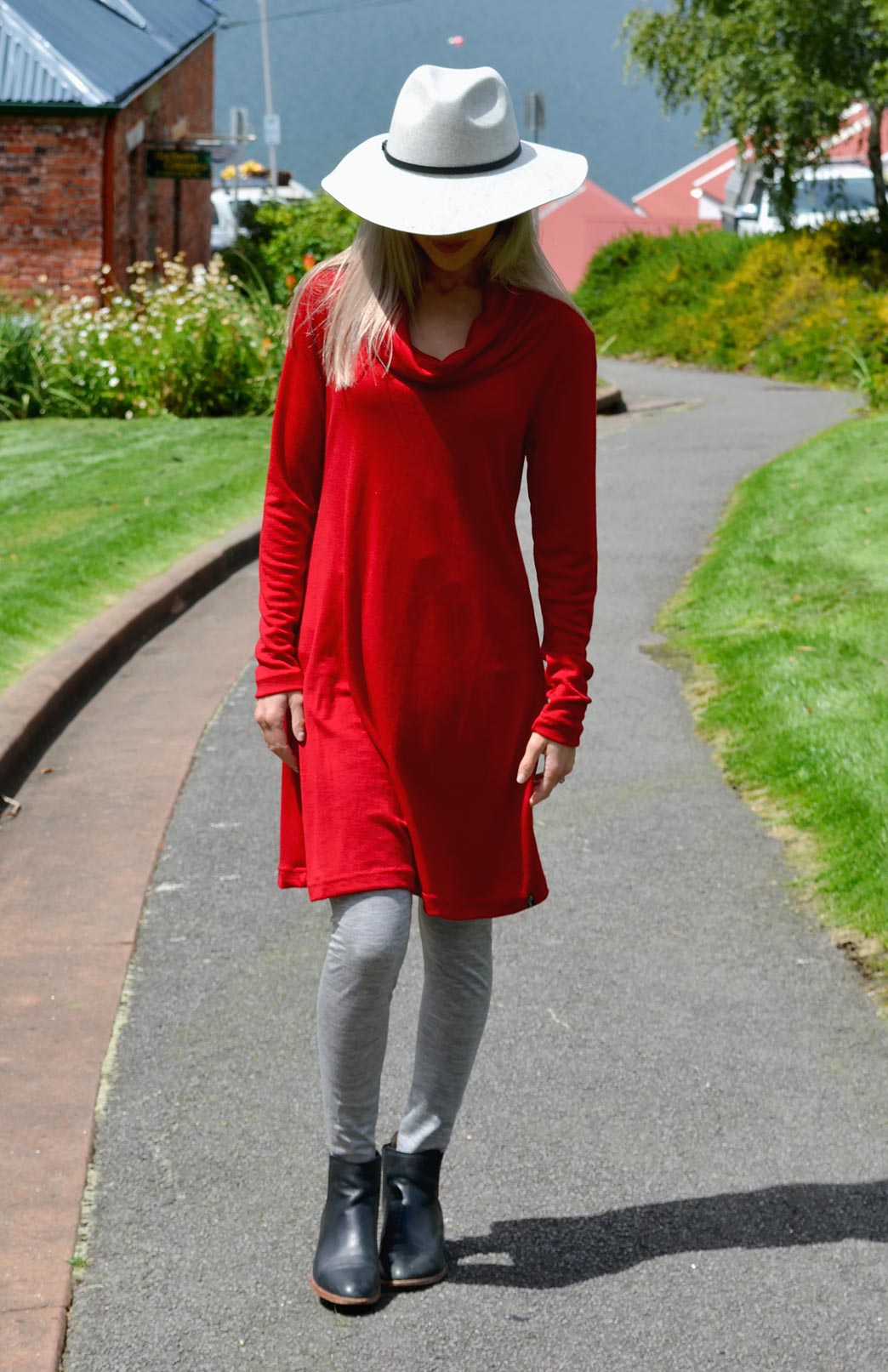 Cowl Neck Swing Dress - Women's Superfine Merino Wool Long Sleeve Cowl Neck Swing Dress - Smitten Merino Tasmania Australia
