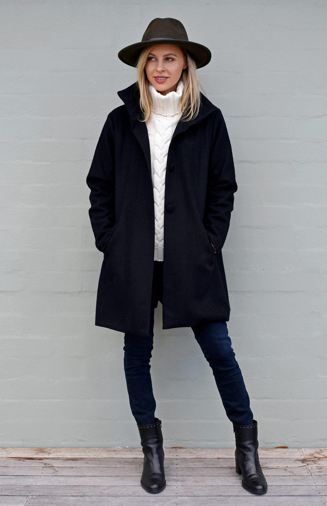 Long Coat - Black - Women's Black Superfine Merino Wool Long Winter Coat with buttons and pockets - Smitten Merino Tasmania Australia