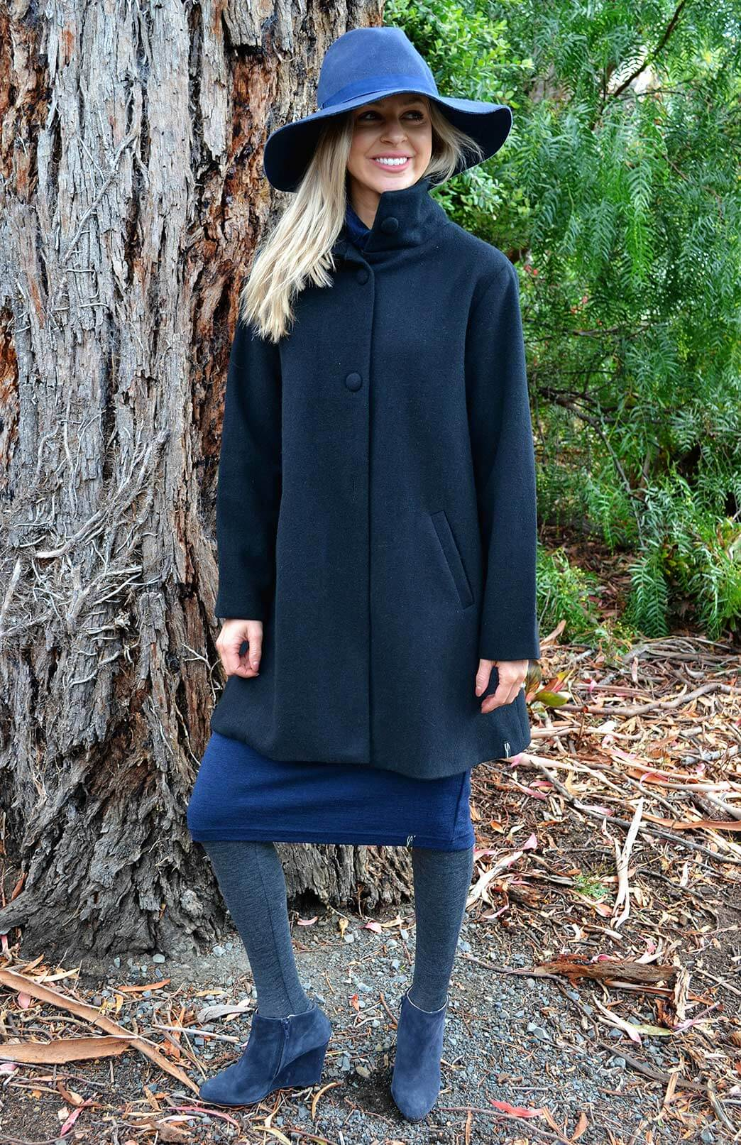 Long Coat - Black - Women's Black Superfine Merino Wool Long Winter Coat with buttons and pockets - Smitten Merino Tasmania Australia