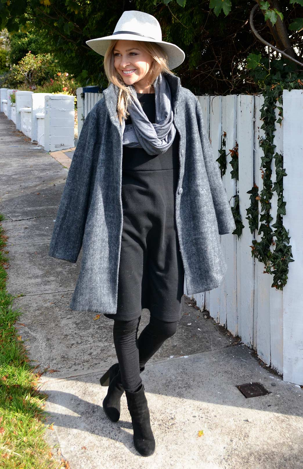 Long Coat - Herringbone - Women's Herringbone Superfine Merino Wool Long Winter Coat with buttons and pockets - Smitten Merino Tasmania Australia
