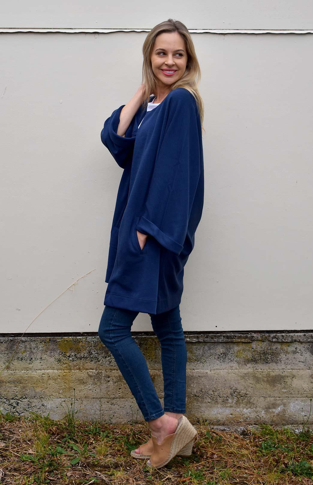 Kimono Coat - Women's Indigo Blue Heavyweight Woollen Kimono Coat with hook and eye fastening and side pockets - Smitten Merino Tasmania Australia