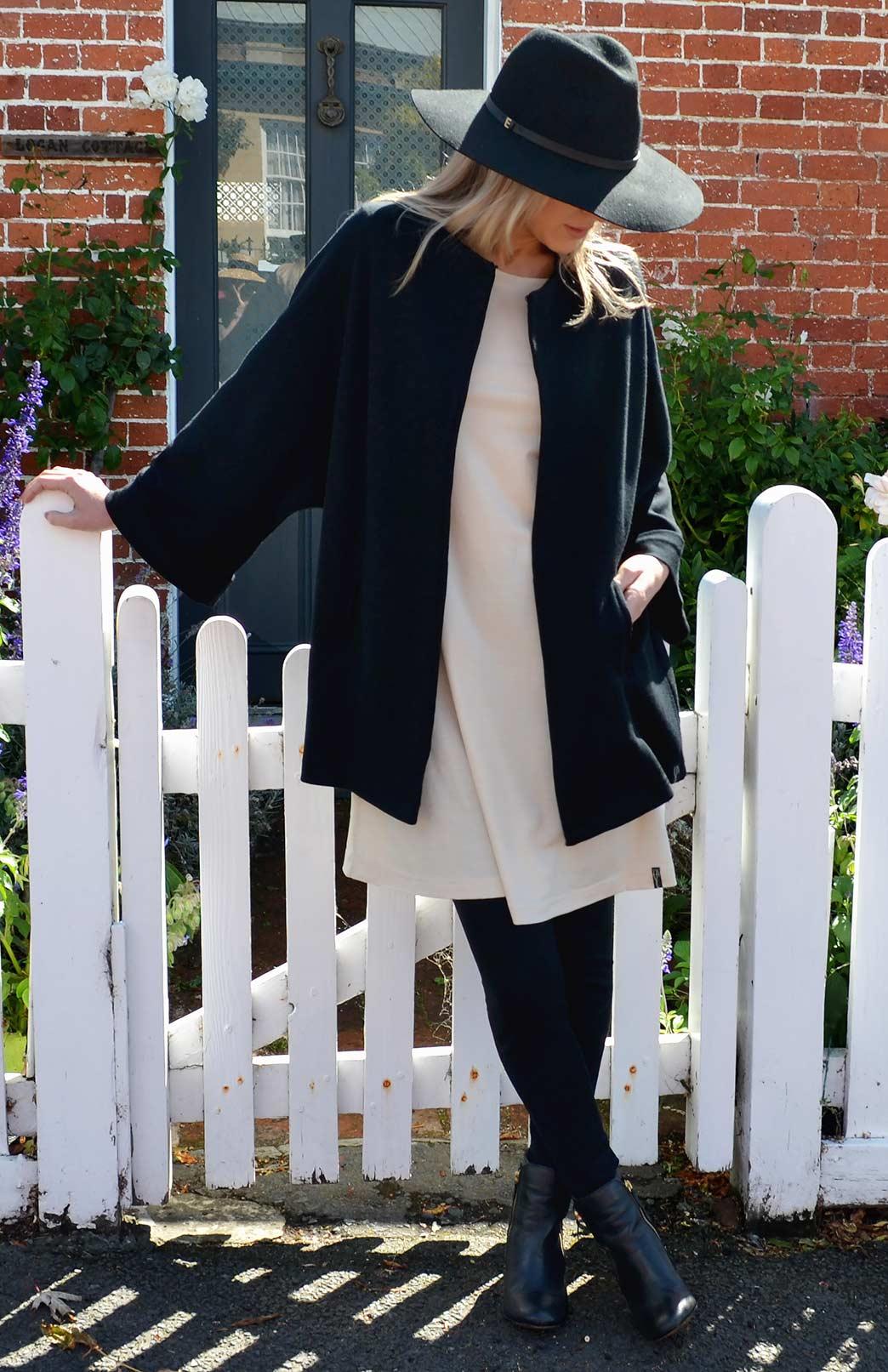 Kimono Coat - Women's Black Heavyweight Woollen Kimono Coat with hook and eye fastening and side pockets - Smitten Merino Tasmania Australia