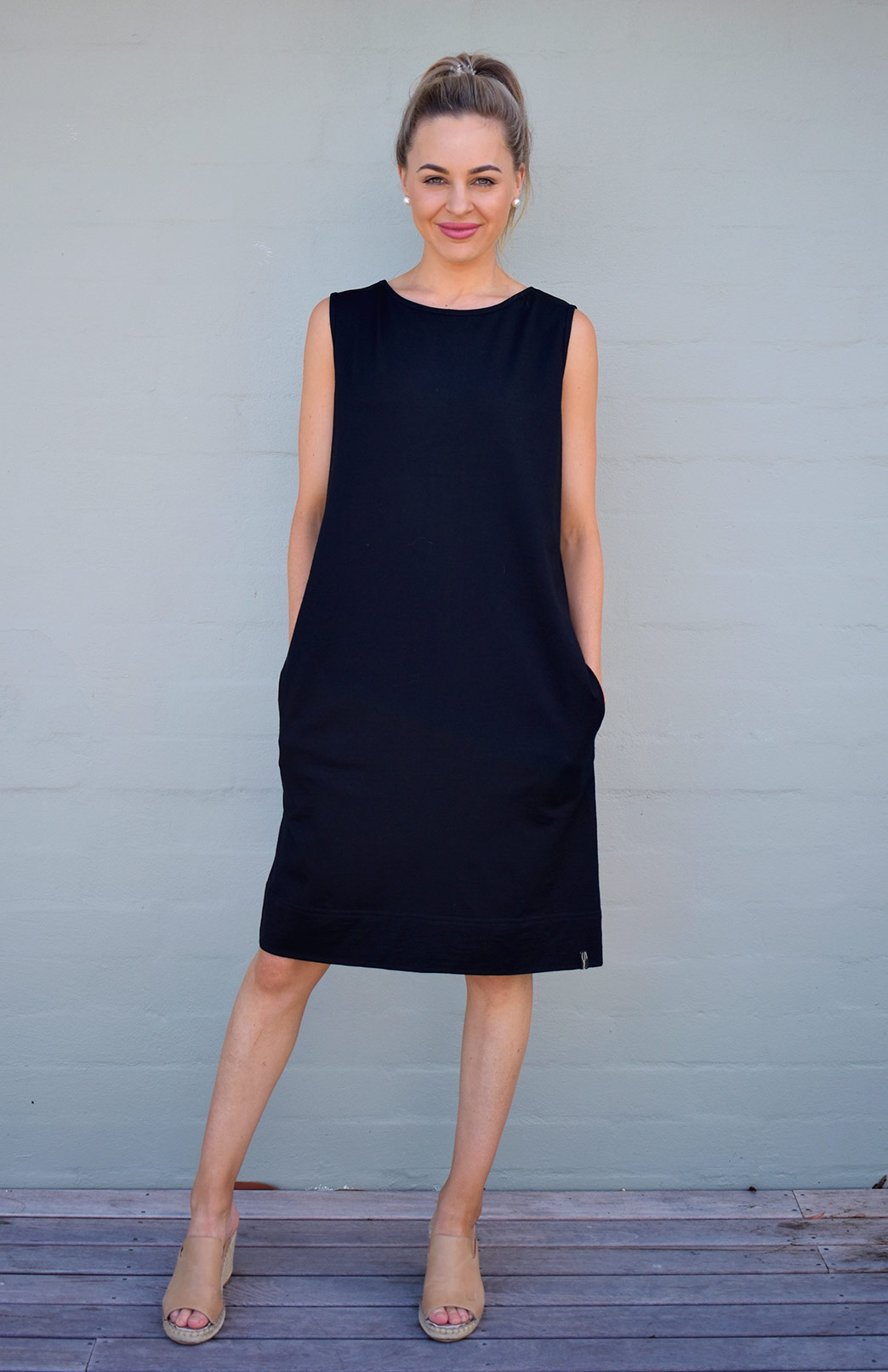 Holly Dress - Women's Black Merino Wool Classic Sleeveless Knee Length Dress with side pockets - Smitten Merino Tasmania Australia