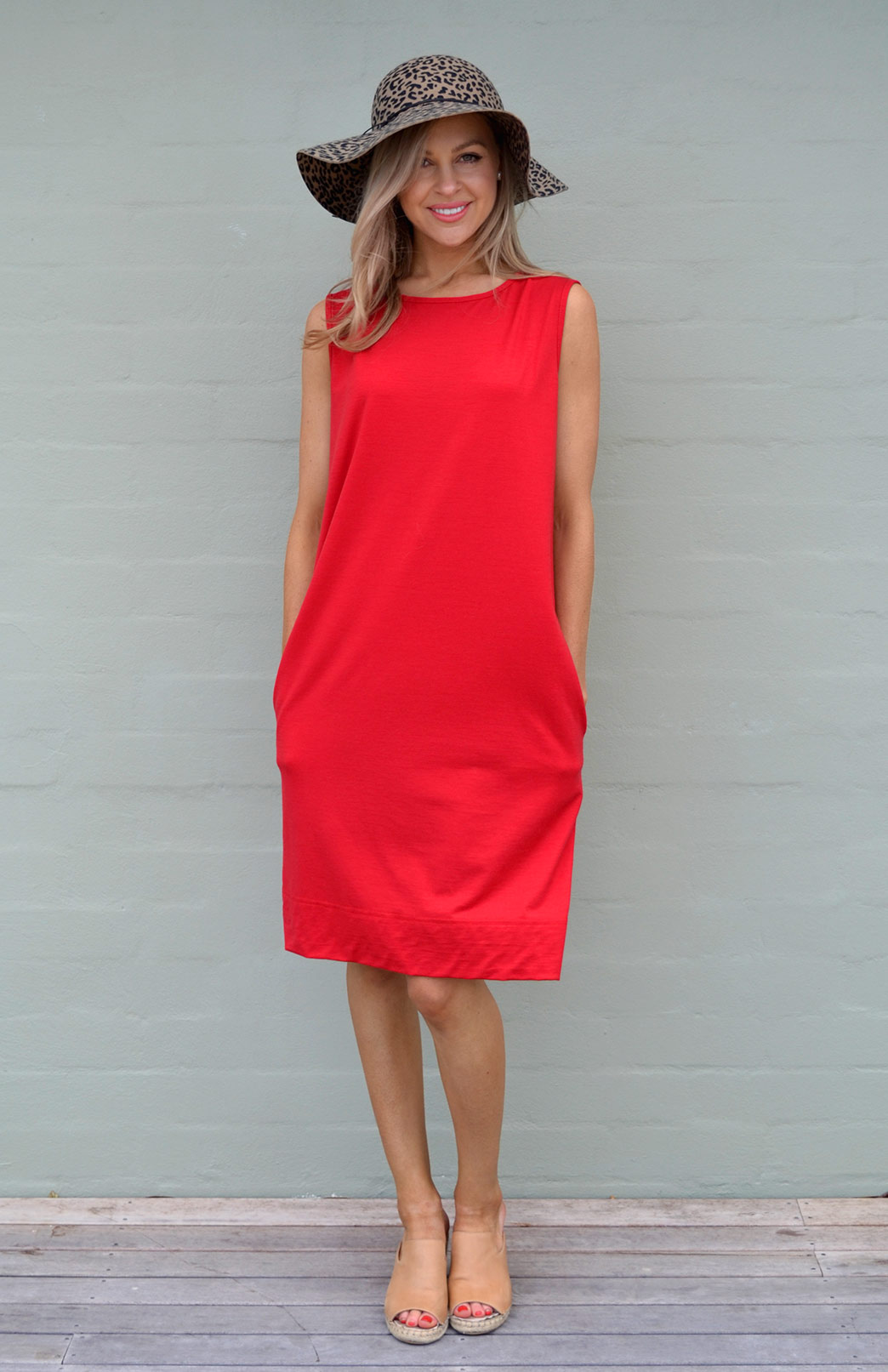 Holly Dress - Women's Flame Red Merino Wool Sleeveless Shift Dress with Pockets - Smitten Merino Tasmania Australia