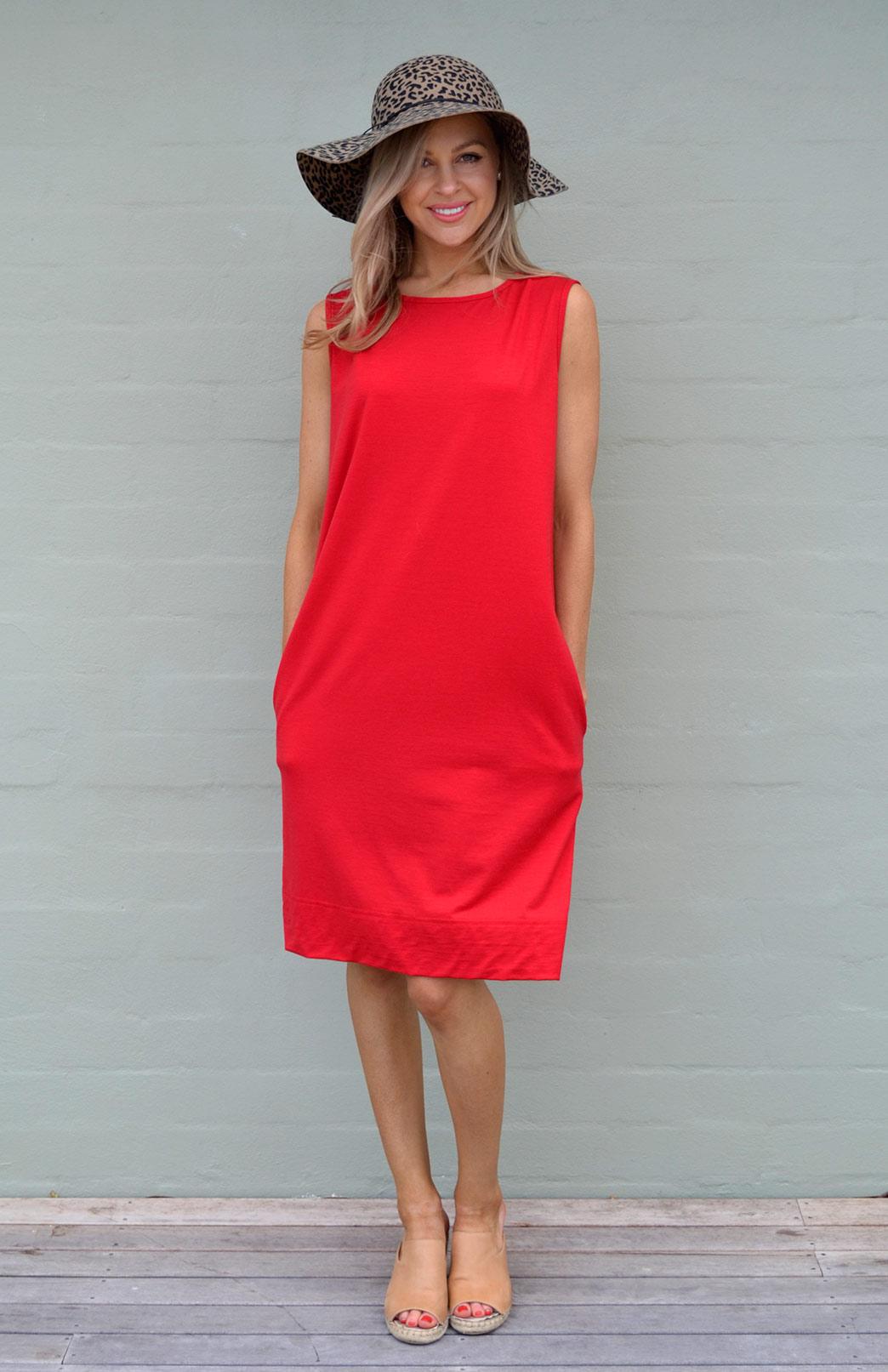 Holly Dress - Women's Flame Red Merino Wool Sleeveless Shift Dress with Pockets - Smitten Merino Tasmania Australia