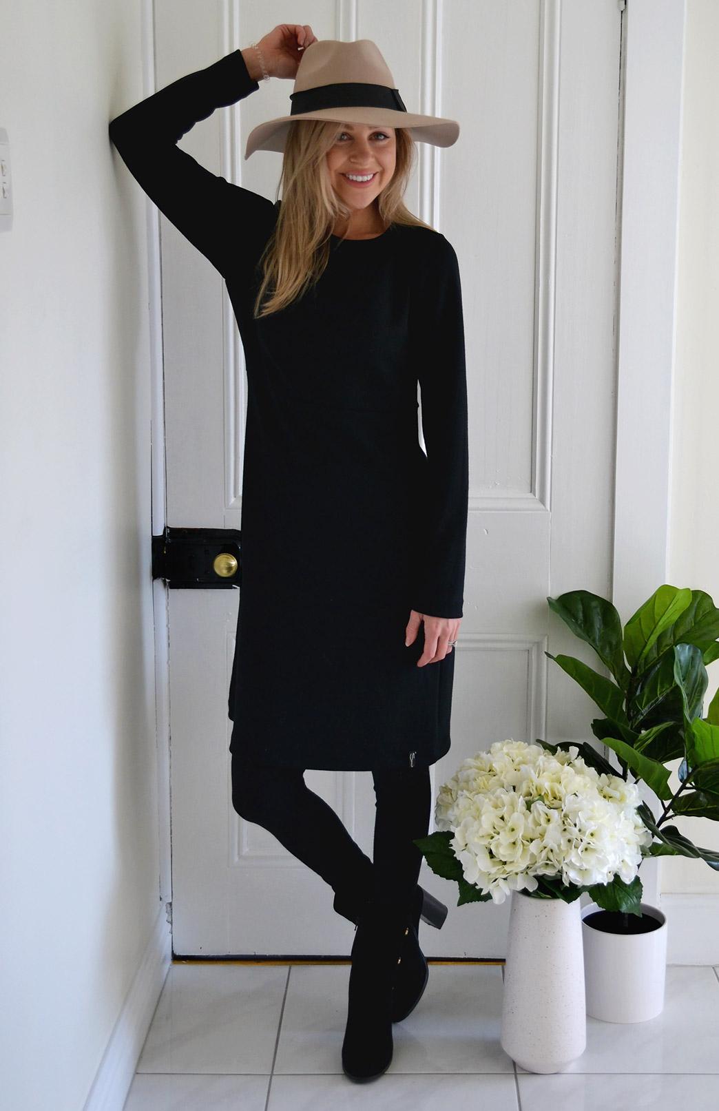 Sascha Straight Dress - Women's Superfine Merino Wool Black Long Sleeved Heavyweight Winter Dress - Smitten Merino Tasmania Australia