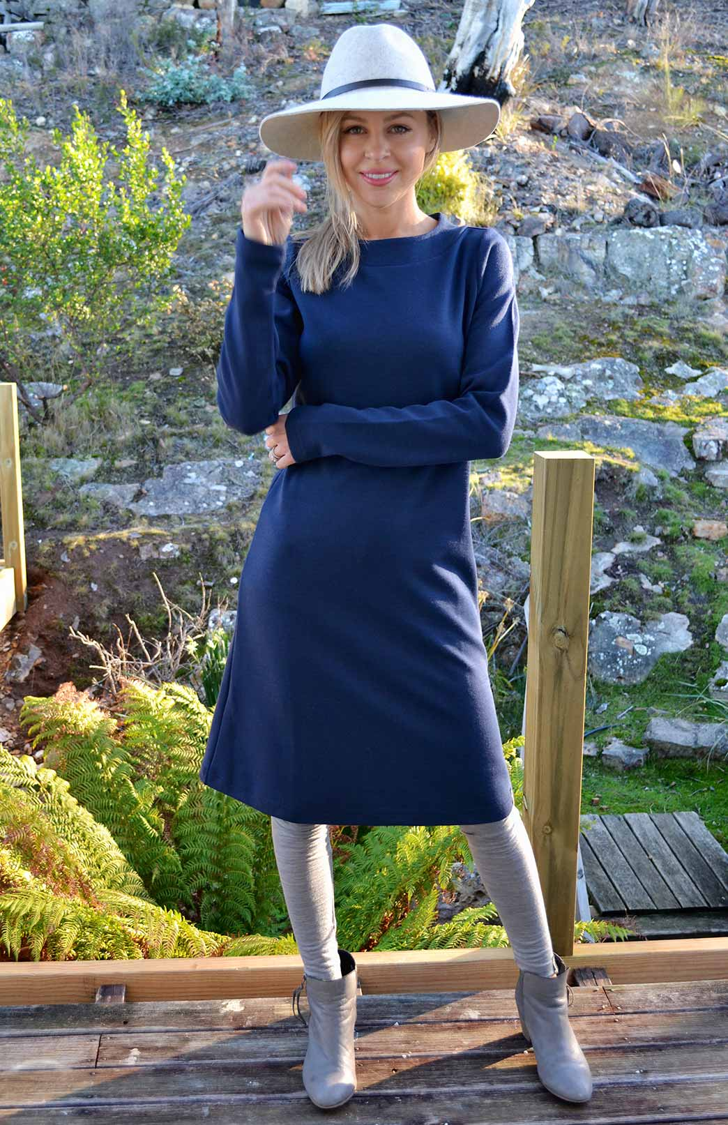 Sascha Straight Dress - Women's Superfine Merino Wool Indigo Long Sleeved Heavyweight Winter Dress - Smitten Merino Tasmania Australia
