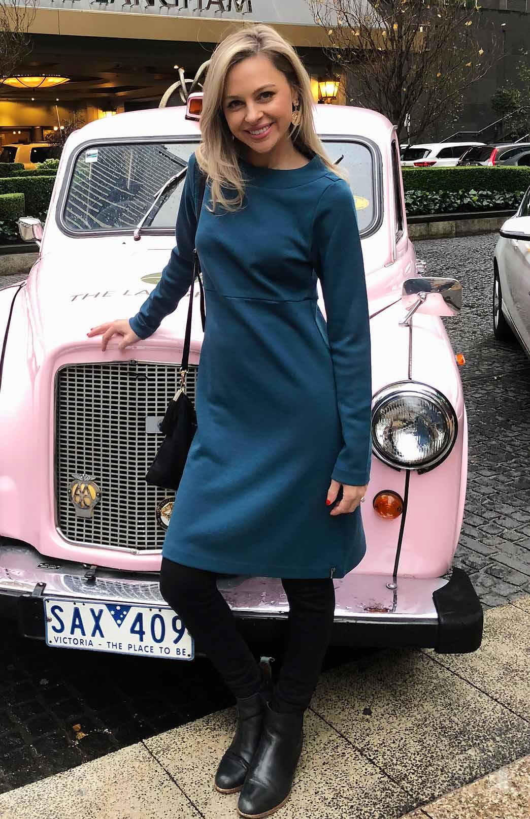 Sascha Straight Dress - Women's Superfine Merino Wool Teal Long Sleeved Heavyweight Winter Dress - Smitten Merino Tasmania Australia