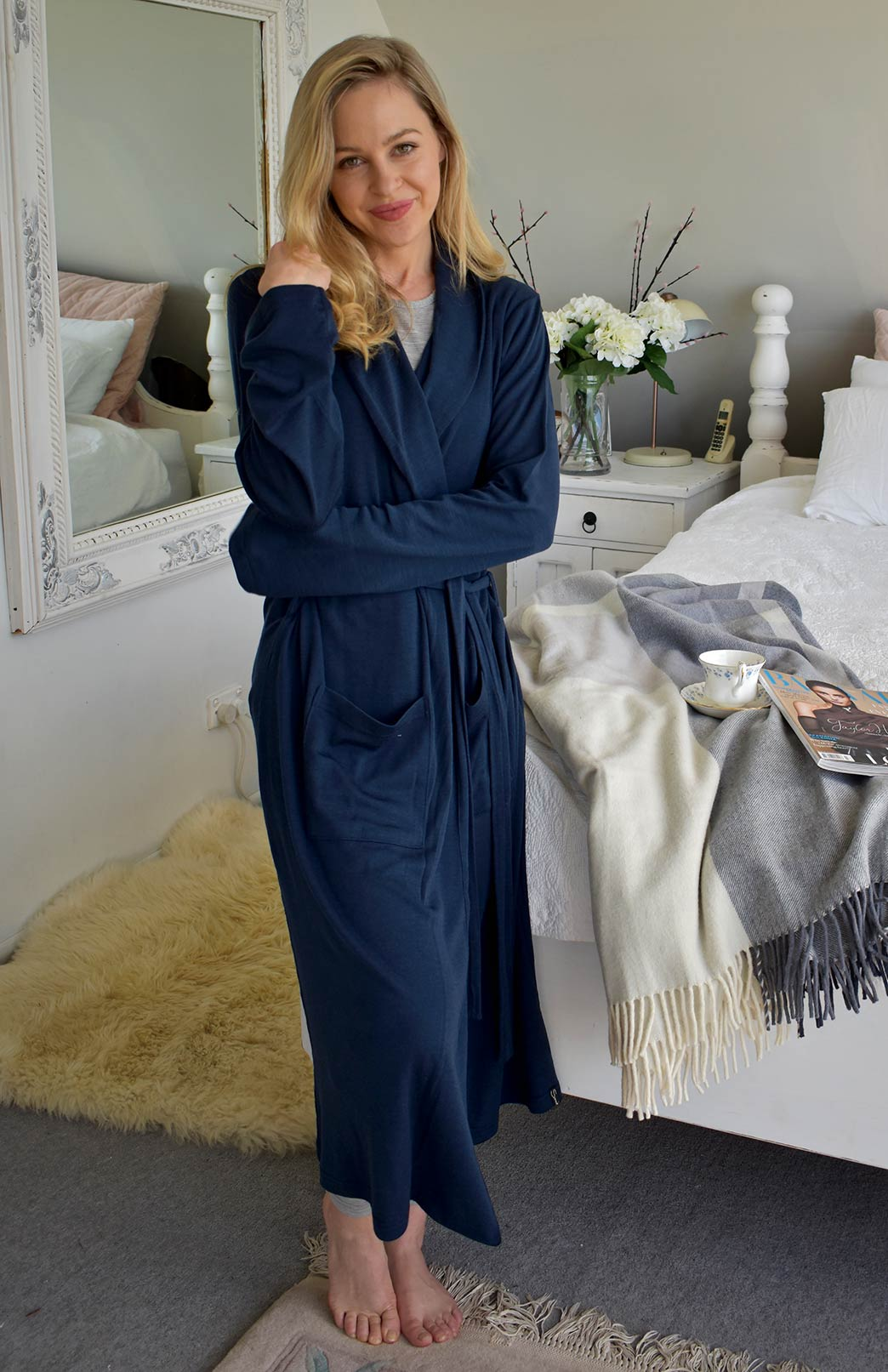 Dressing Gown- Heavyweight - Women's Blue Superfine Merino Wool Dressing Gown with Tie and Side Pockets - Smitten Merino Tasmania Australia
