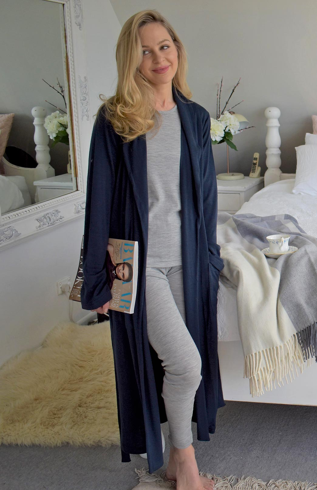Leggings - Rib - Women's Soft Grey and Ivory Striped Merino Wool Rib Leggings - Smitten Merino Tasmania Australia