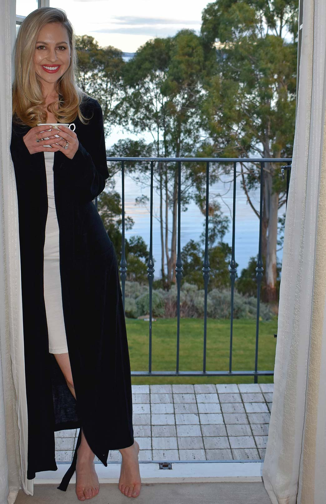 Dressing Gown - Women's Midnight Black Superfine Merino Wool Dressing Gown with Tie and Side Pockets - Smitten Merino Tasmania Australia