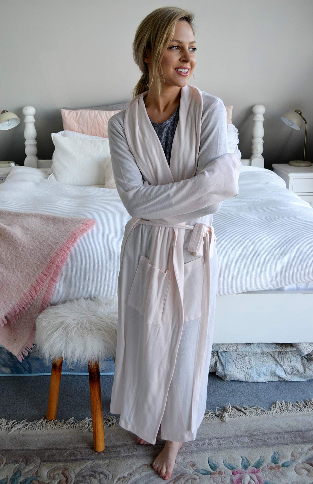 Dressing Gown - Women's Soft Pink Superfine Merino Wool Dressing Gown with Tie and Side Pockets - Smitten Merino Tasmania Australia