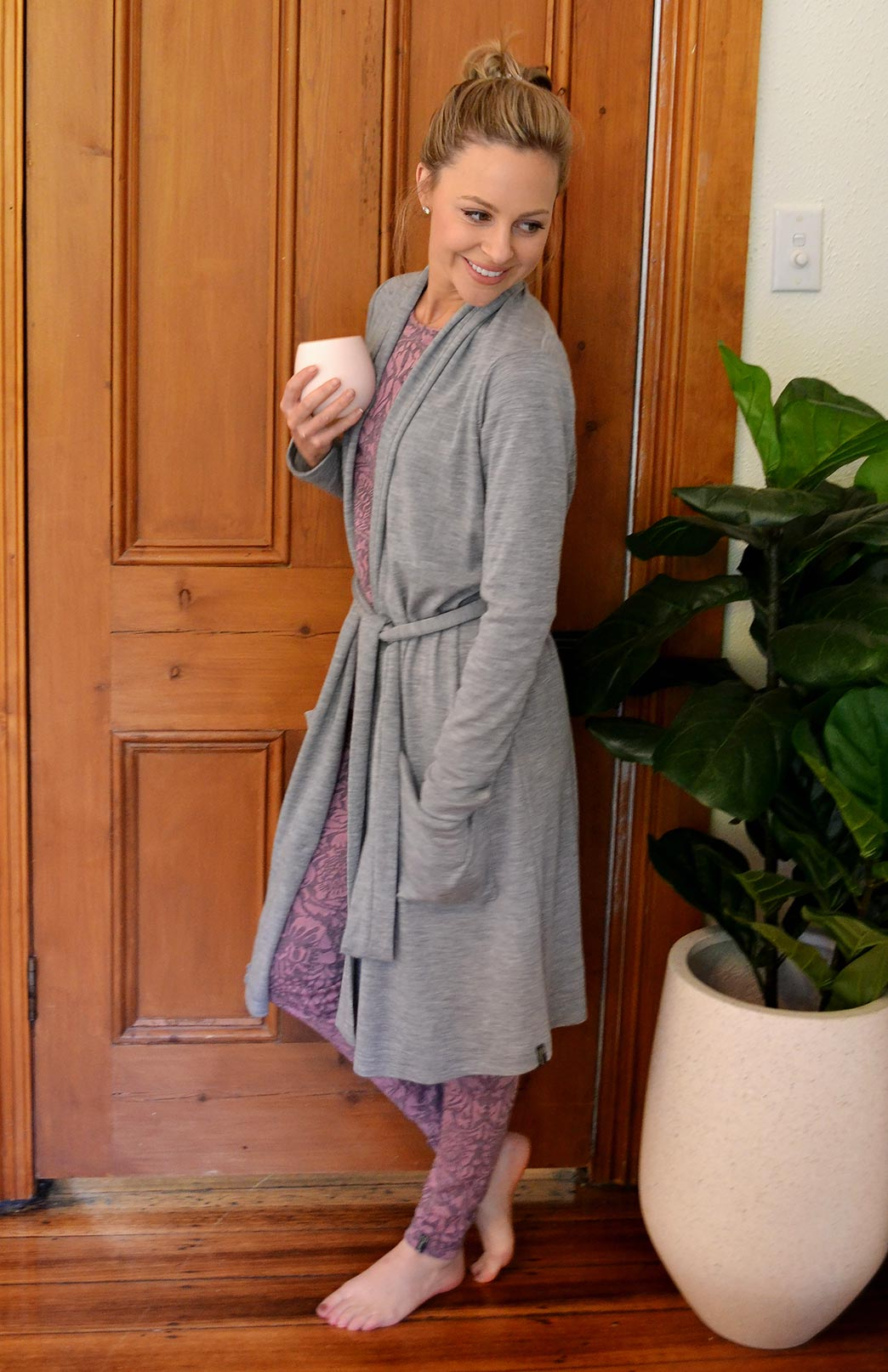 Dressing Gown - Women's Soft Grey Superfine Merino Wool Dressing Gown with Tie and Side Pockets - Smitten Merino Tasmania Australia