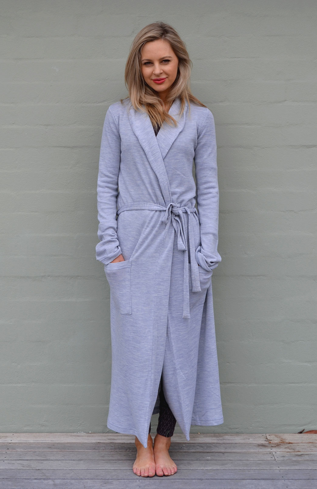 Dressing Gown - Heavyweight - Women's Soft Grey Superfine Merino Wool Dressing Gown with Tie and Side Pockets - Smitten Merino Tasmania Australia