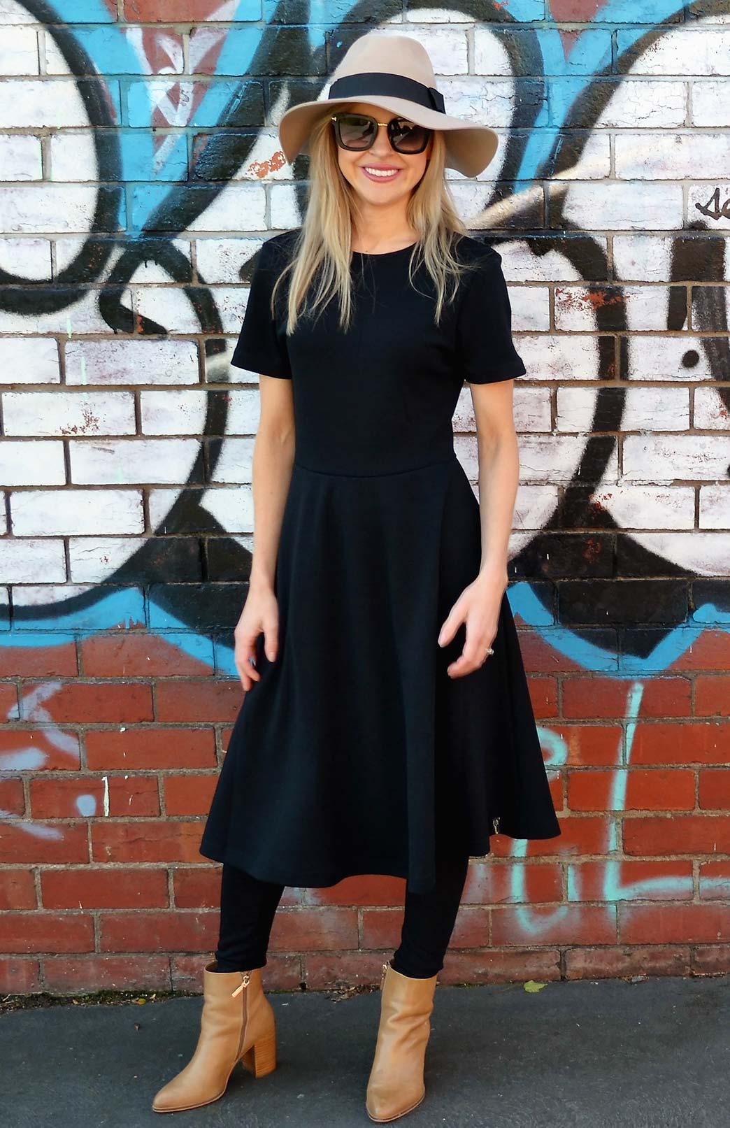 Zoe Dress - Women's Black Heavyweight Wool Short Sleeved Dress - Smitten Merino Tasmania Australia