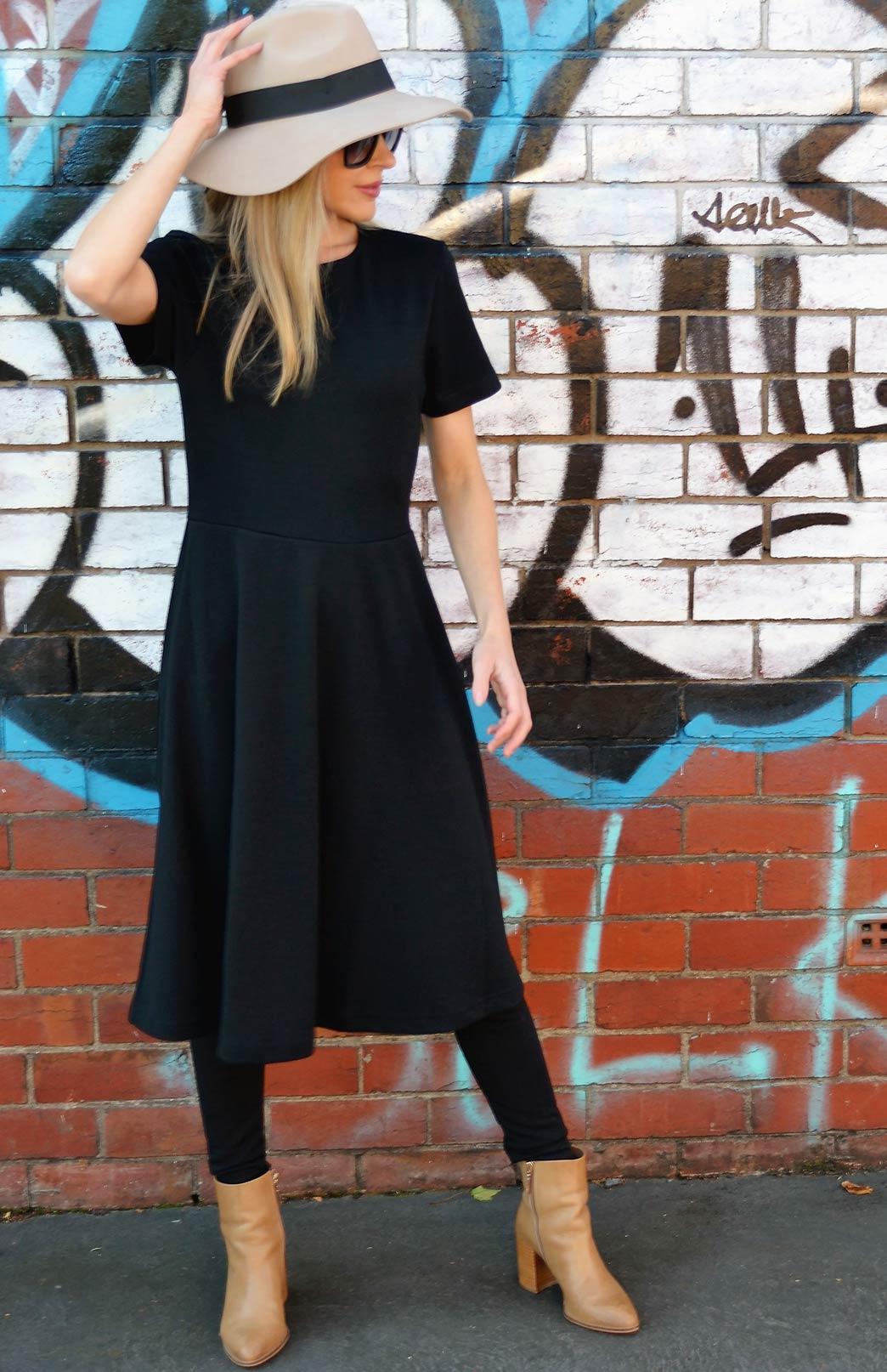 Zoe Dress Women S Black Heavyweight Wool Short Sleeved
