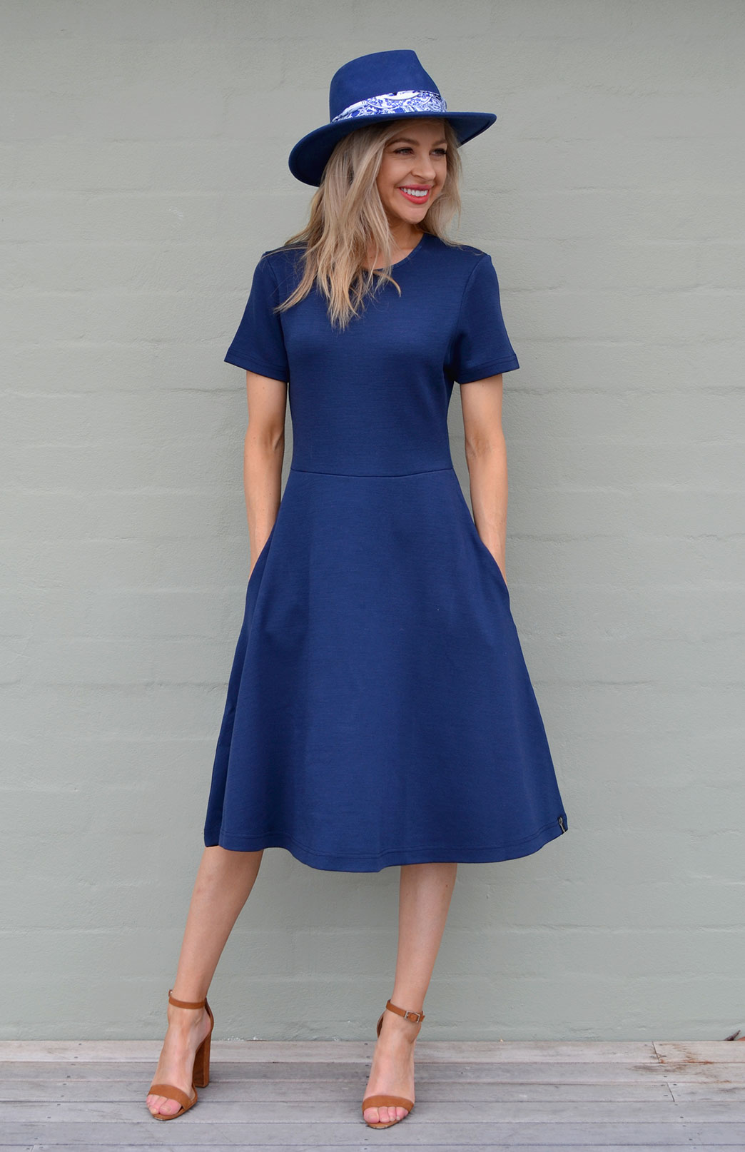 Zoe Dress - Women's Indigo Heavyweight Wool Short Sleeved Dress - Smitten Merino Tasmania Australia