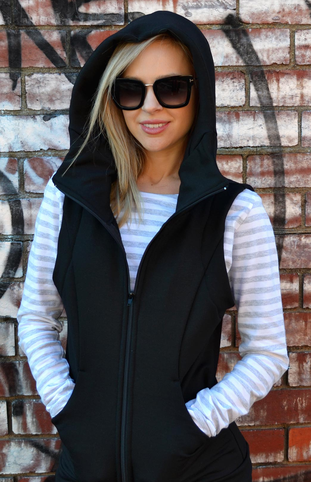 Fitted Fleece Vest with Hood - Women's Fitted Merino Wool Fleece Vest with Deep Pockets and Double Layer Hood - Smitten Merino Tasmania Australia
