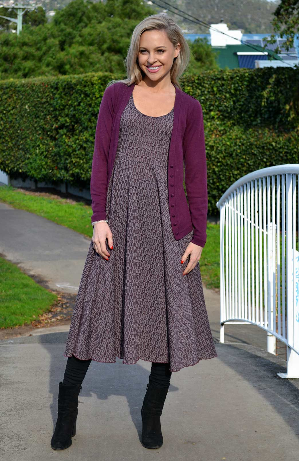 Fan Dress - Patterned Fabric - Women's Raisin Keyhole Patterned Woollen Dress with empire waistline - Smitten Merino Tasmania Australia