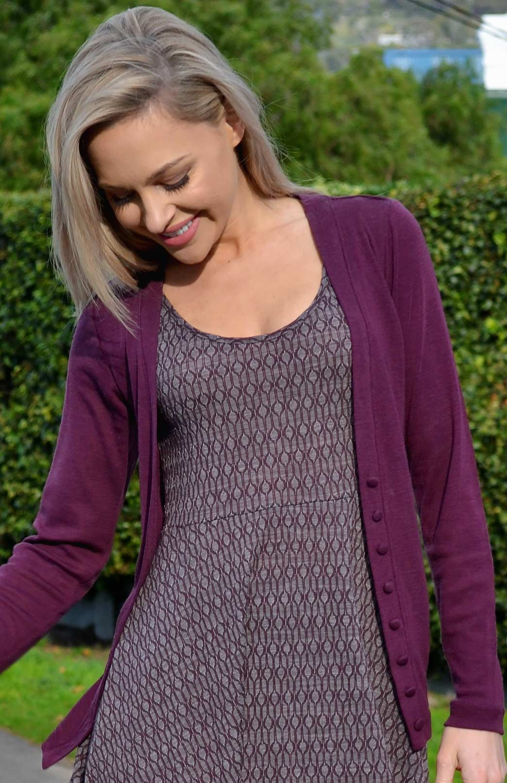 Annie V-Neck Cardigan - Women's Aubergine Purple Long Sleeve Wool Cardigan with hand-made buttons - Smitten Merino Tasmania Australia
